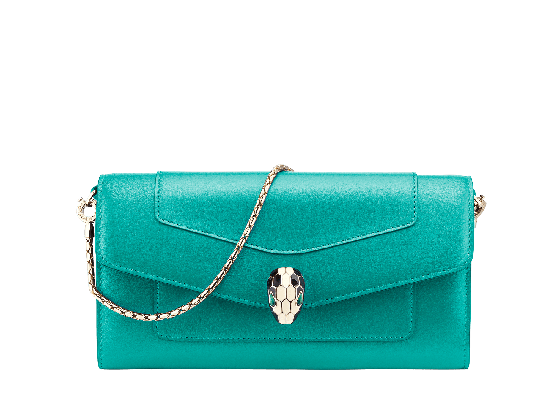 Serpenti Forever wallet pouch in tropical tourquoise and deep jade calf leather. Iconic snakehead charm in black and white enamel, with green malachite eyes. 288023 image 1