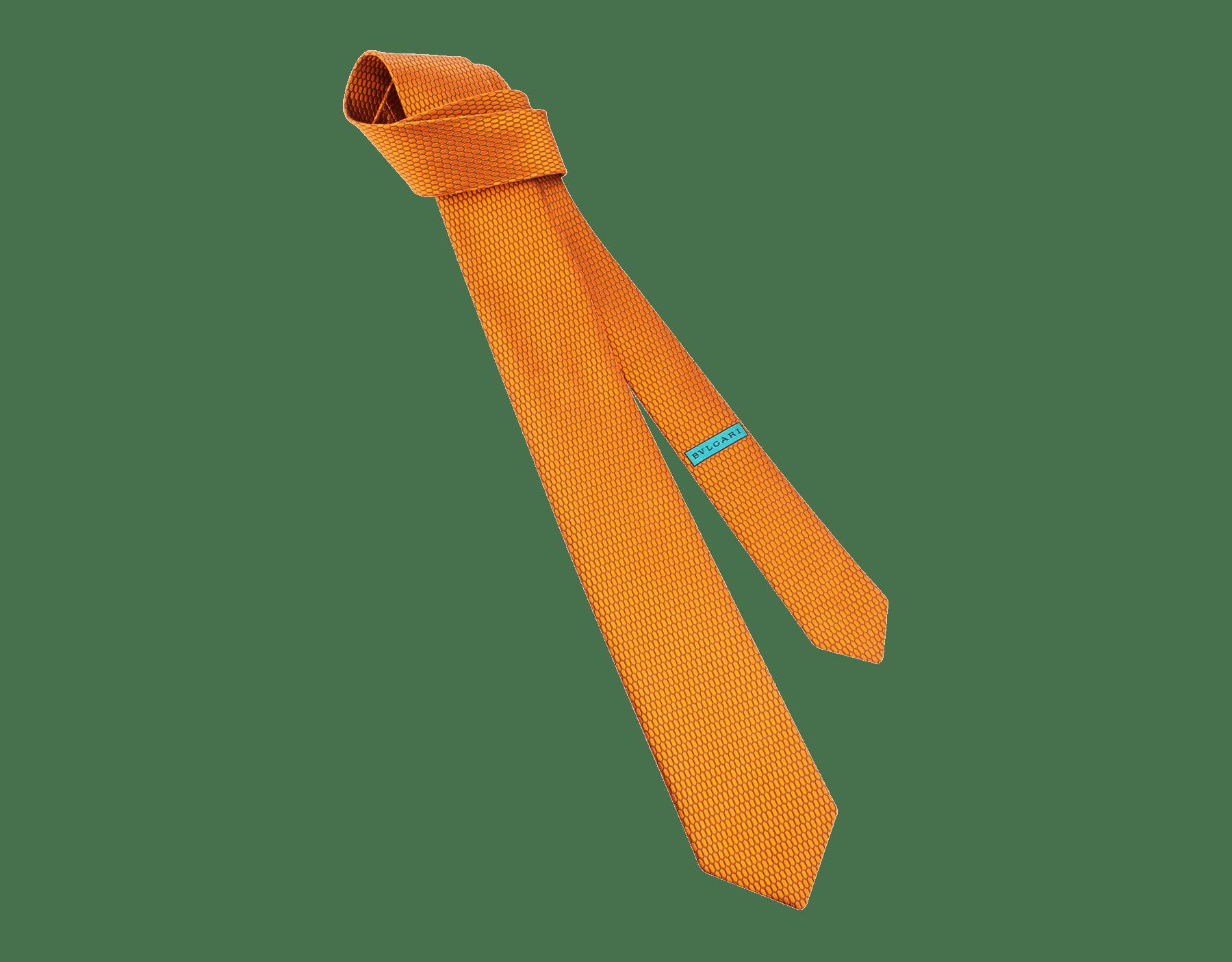 オレンジのスネークカラー セブンフォールドネクタイ。上質なジャカードシルク製。 ColorSnake image 1