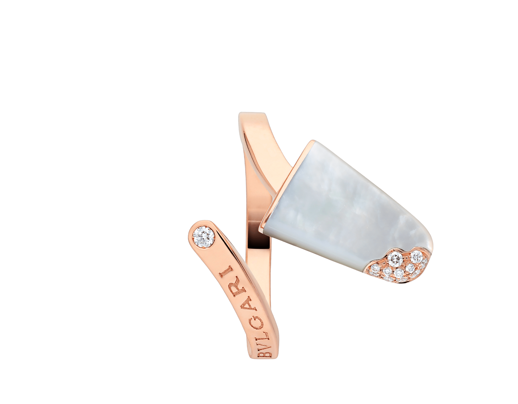BVLGARI BVLGARI Gelati 18 kt rose gold ring set with mother-of-pearl and pavé diamonds AN858014 image 3