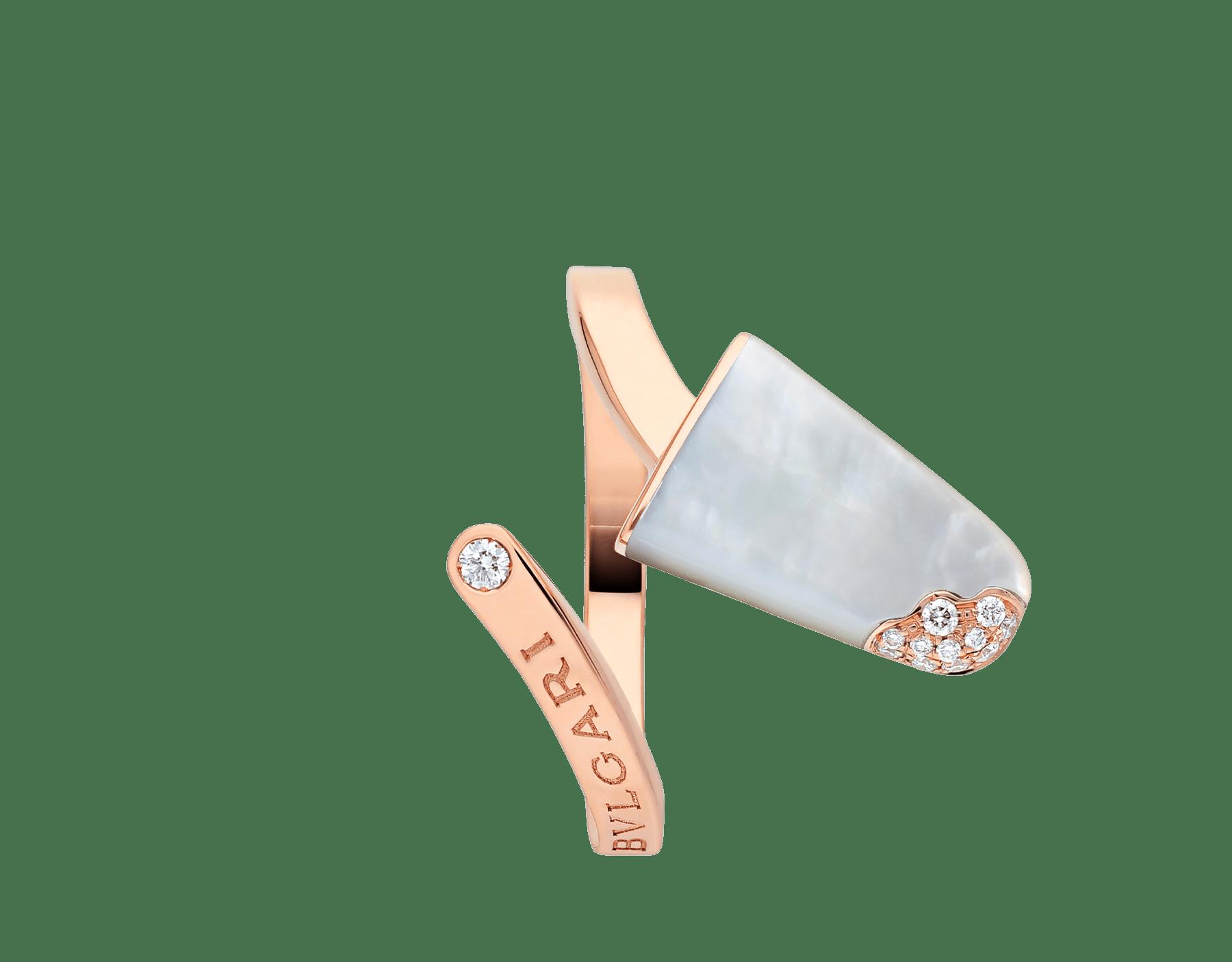 BVLGARI BVLGARI系列戒指,18K玫瑰金材质,镶嵌珍珠母贝,饰以密镶钻石 AN858014 image 3