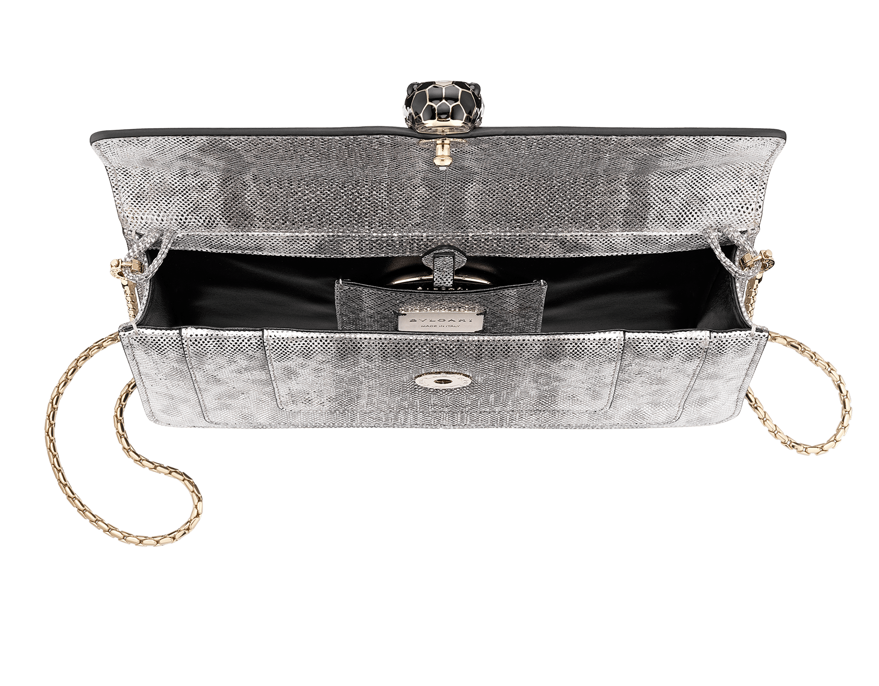 """Serpenti Forever"" shoulder bag in crystal rose metallic karung skin. Iconic snakehead closure in light gold plated brass enriched with black and glitter bronze enamel and black onyx eyes 486-MK image 4"
