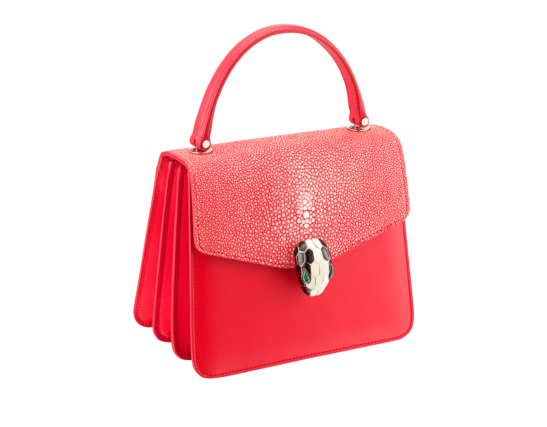 Serpenti Forever crossbody bag in sea star coral galuchat skin and smooth calf leather. Snakehead closure in light gold plated brass decorated with black and white enamel, and green malachite eyes. 287977 image 2