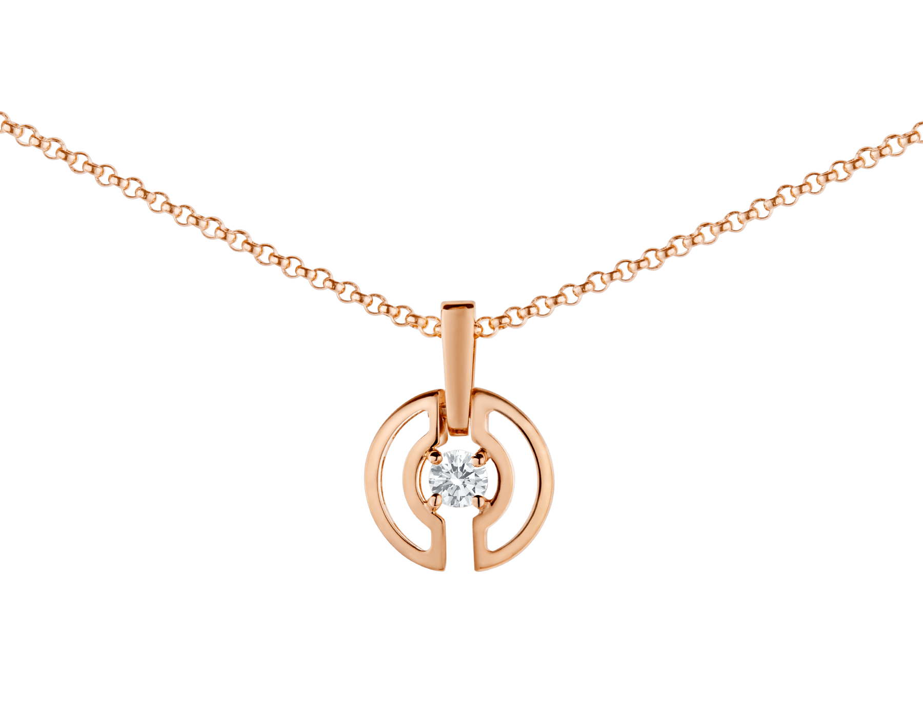 Parentesi necklace with 18 kt rose gold chain and pendant, set with a central diamond. 354605 image 2