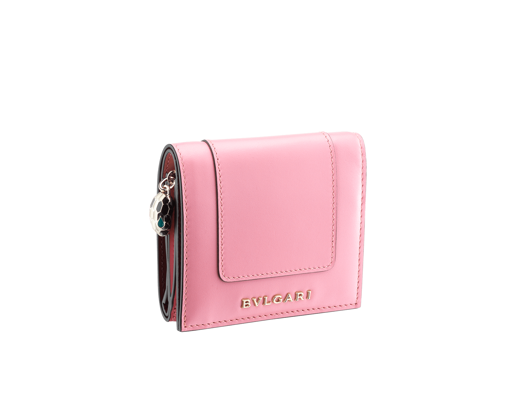 Serpenti Forever super compact wallet in flamingo quartz and roman garnet calf leather. Iconic snakehead zip puller in black and white enamel, with green malachite enamel eyes. 288035 image 1