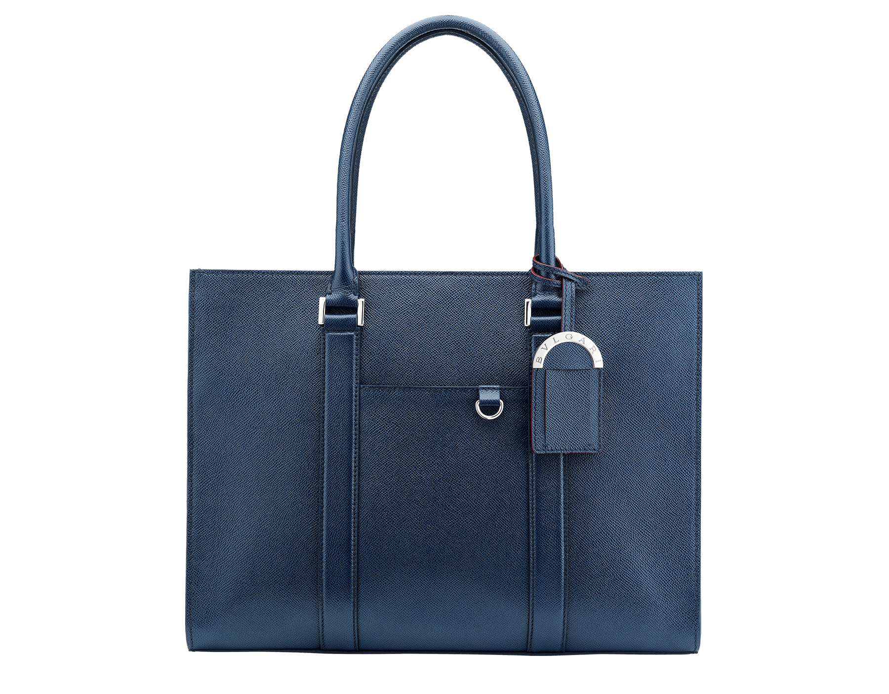 Tote bag in denim sapphire grain calf leather with brass palladium plated hardware. One zipped pocket, three open pockets and Bulgari logo metal tag inside. 39391 image 1