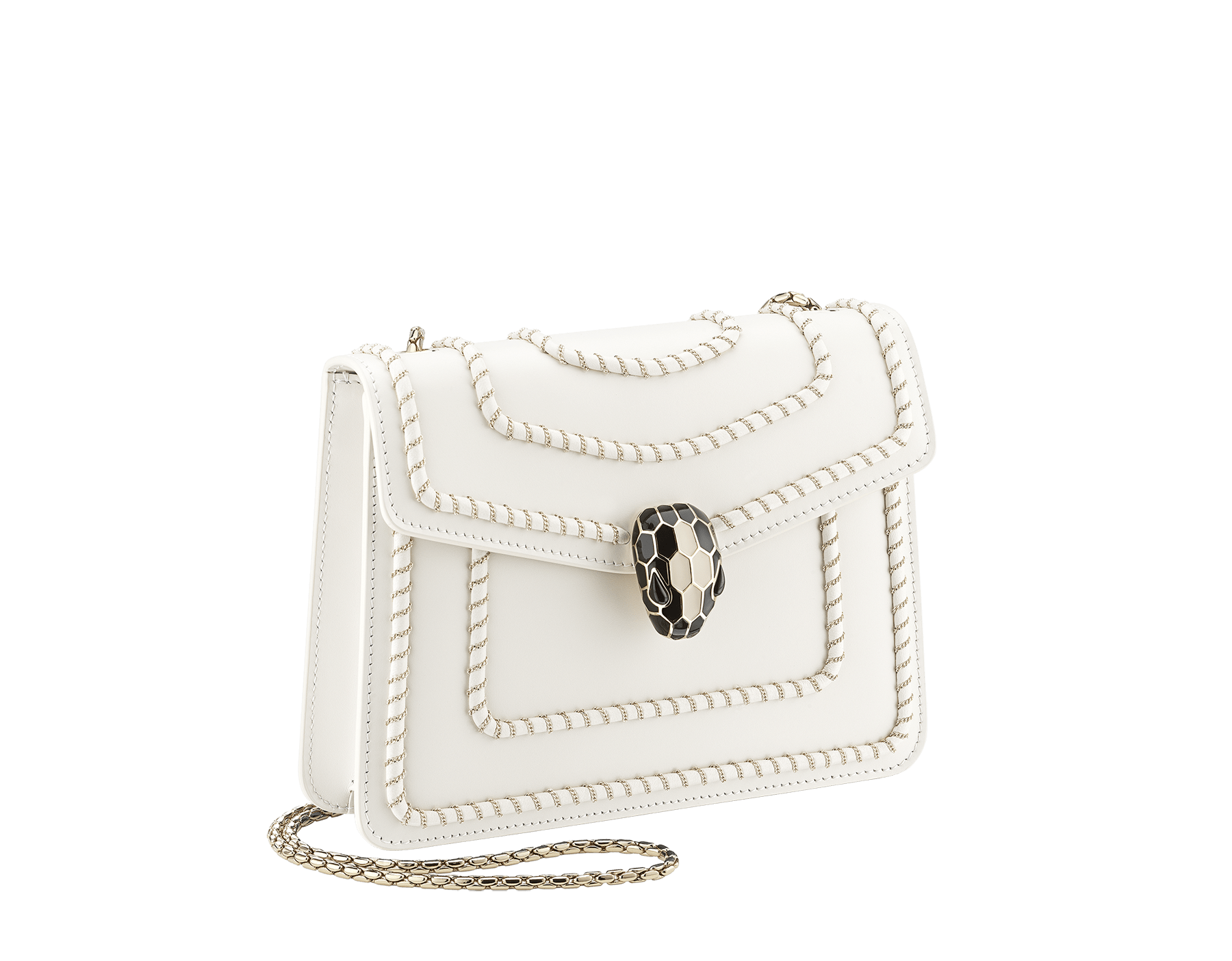 """""""Serpenti Forever"""" crossbody bag in black calf leather, featuring a Woven Chain motif. Iconic snakehead closure in light gold plated brass enriched with shiny black enamel and black onyx eyes 422-WC image 2"""