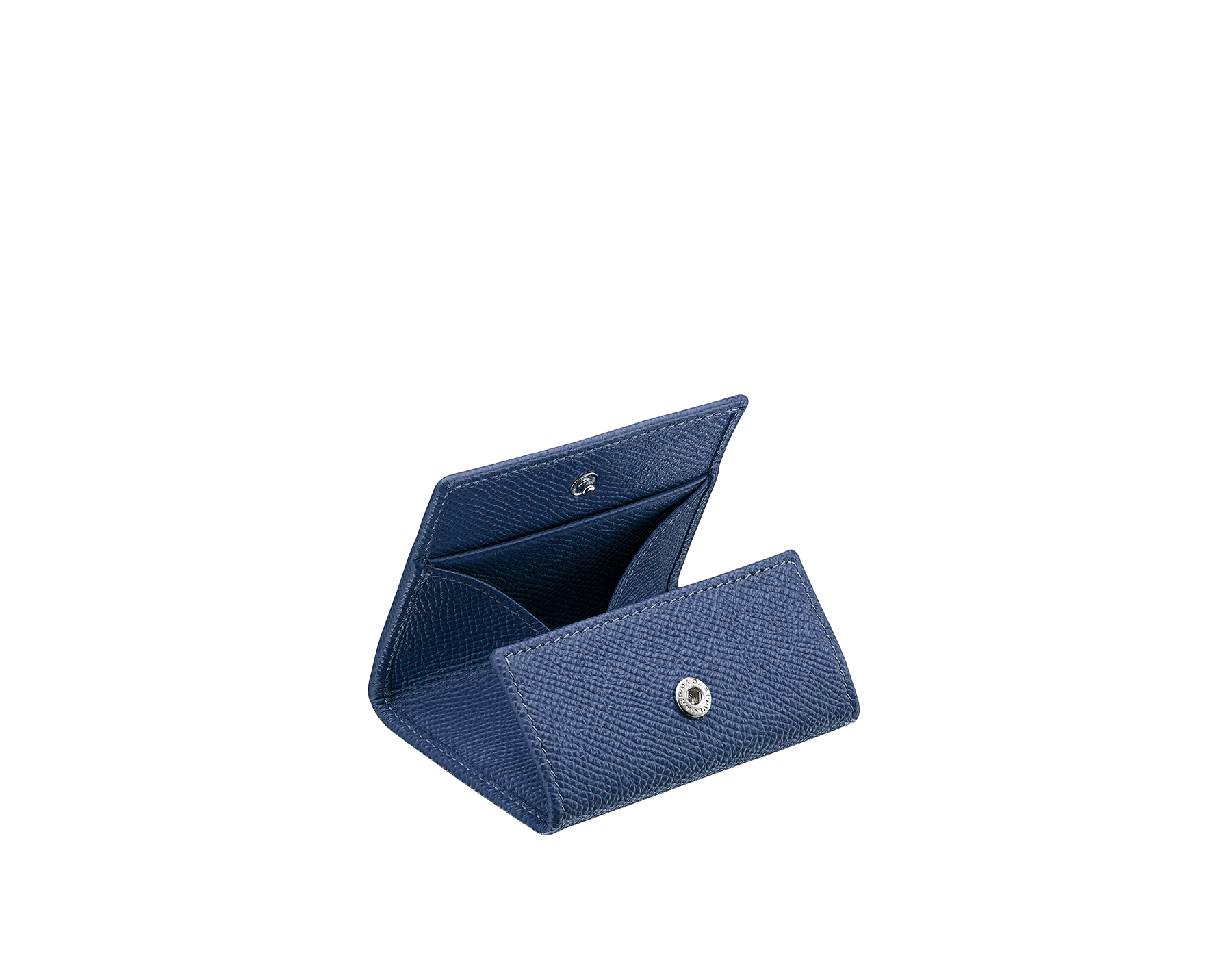 Coin holder in denim sapphire grain calf leather, with brass palladium plated hardware featuring the Bvlgari-Bvlgari motif. 286890 image 2