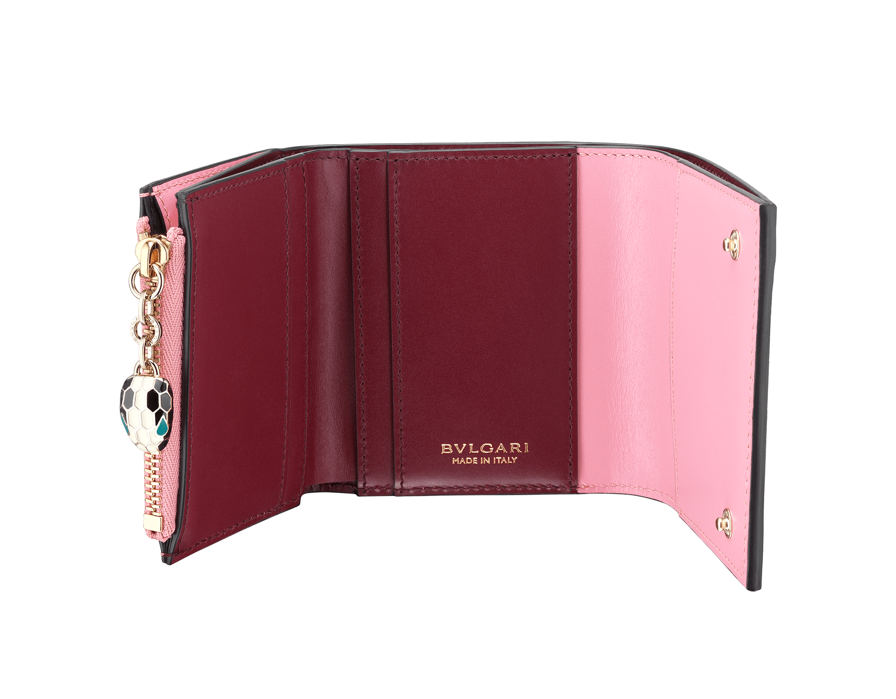 Serpenti Forever super compact wallet in flamingo quartz and roman garnet calf leather. Iconic snakehead zip puller in black and white enamel, with green malachite enamel eyes. 288035 image 2