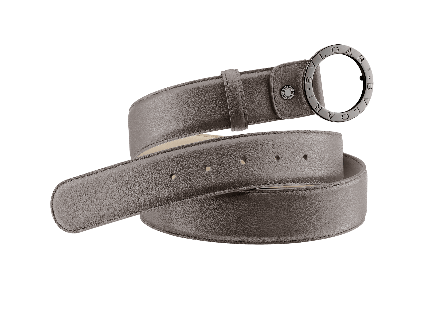 Man Belt in smoky quartz full grain calf leather with iconic round BVLGARI BVLGARI closure in dark ruthenium plated hardware. Also available in other colours and materials in-store. Resizable/Adjustable ROUND-CURVED-fgcl image 1