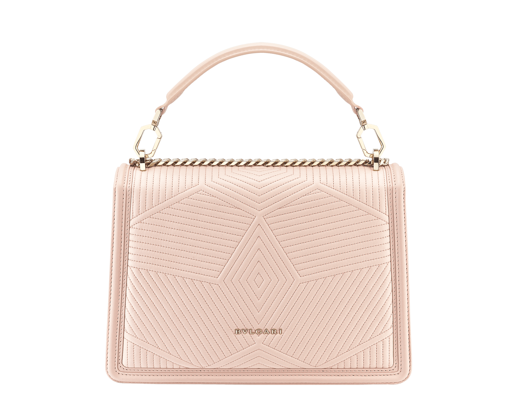 """Serpenti Diamond Blast"" shoulder bag in crystal rose quilted nappa leather body and crystal rose calf leather frames. Iconic snakehead closure in light gold plated brass enriched with black and crystal rose enamel and black onyx eyes 287387 image 3"