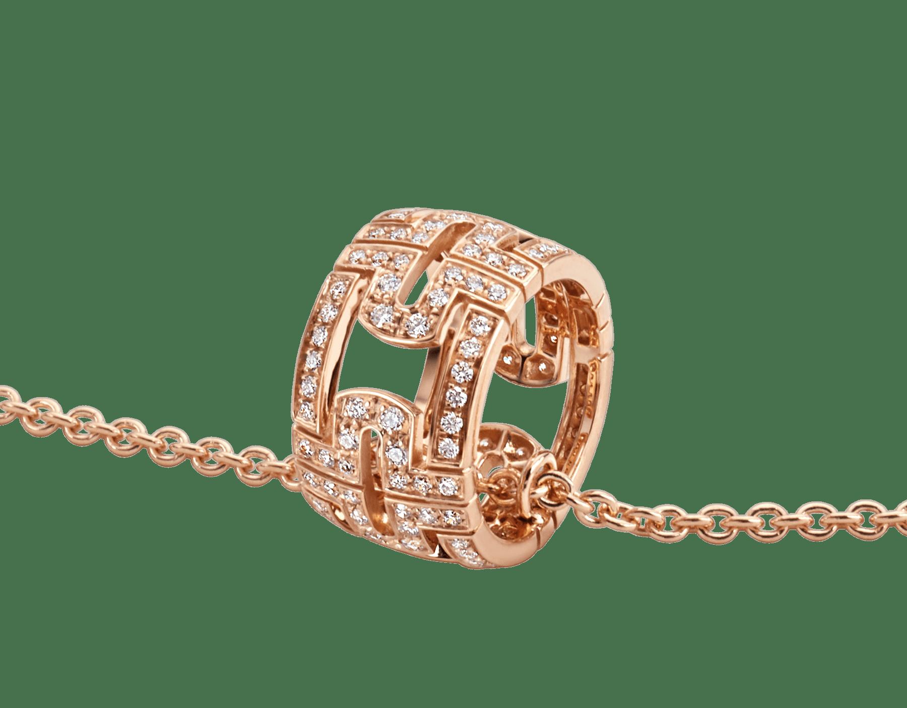 Collier Parentesi avec chaîne en or rose 18K et pendentif rond en or rose 18K pavé diamants 343471 image 3
