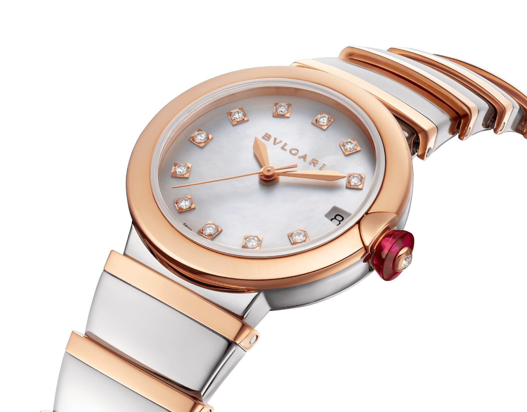 LVCEA watch with stainless steel case, 18 kt rose gold bezel, white mother-of-pearl dial, diamond indexes, stainless steel and 18 kt rose gold bracelet. 102198 image 3