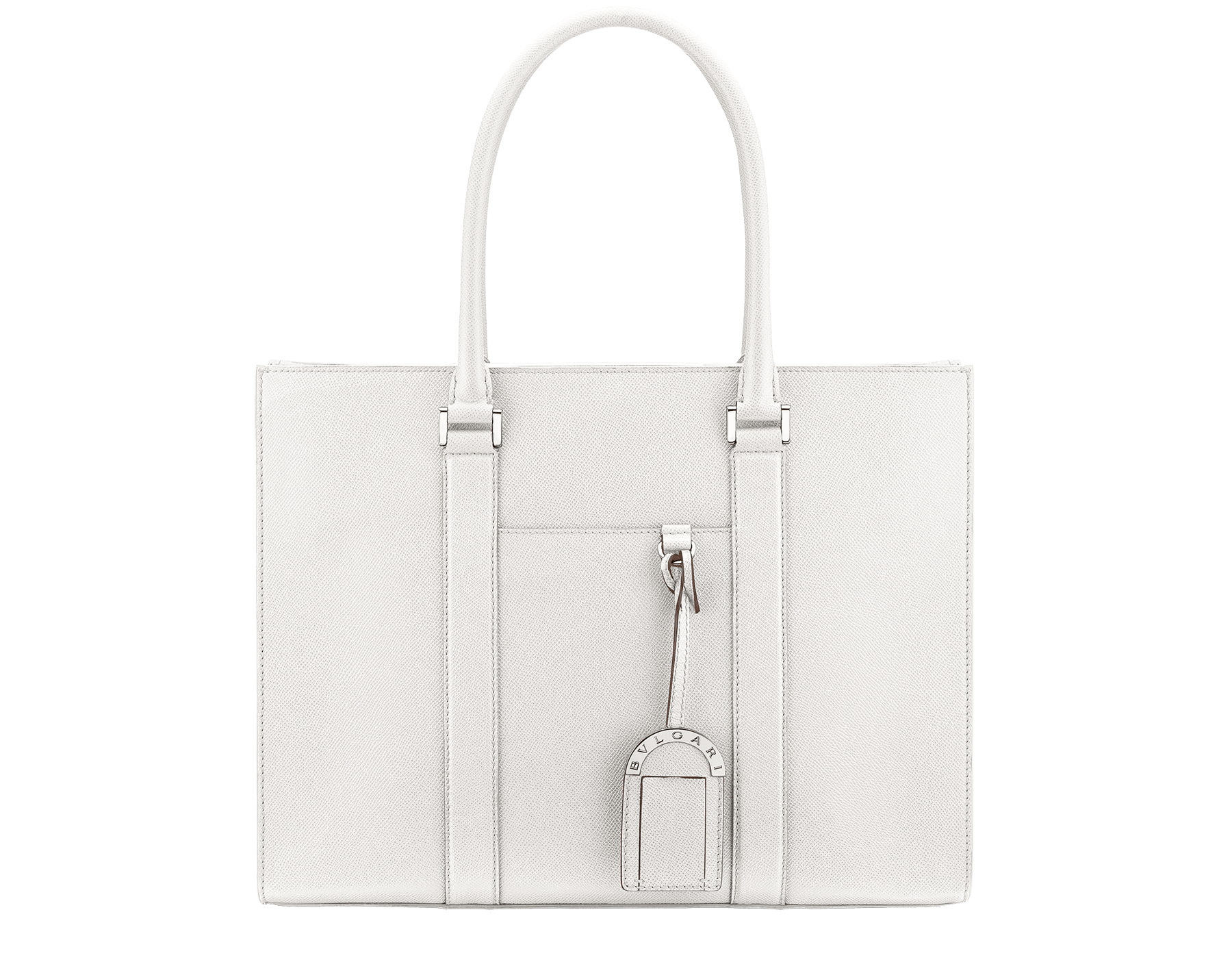 BVLGARI BVLGARI men's tote bag in white agate grain calf leather with brass palladium plated hardware. 288474 image 1