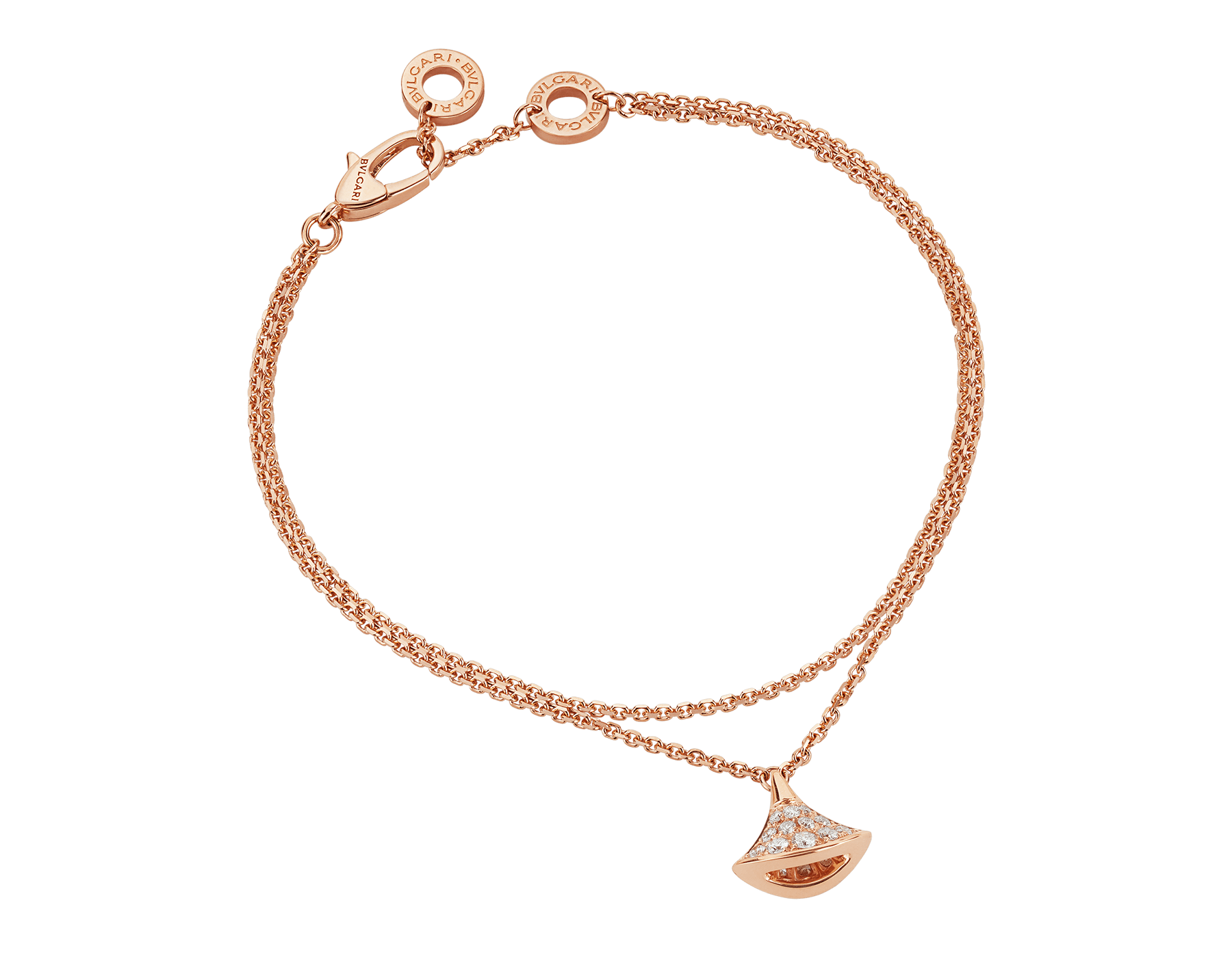 DIVAS' DREAM bracelet in 18 kt rose gold with pendant in full pavé diamonds. BR857363 image 1