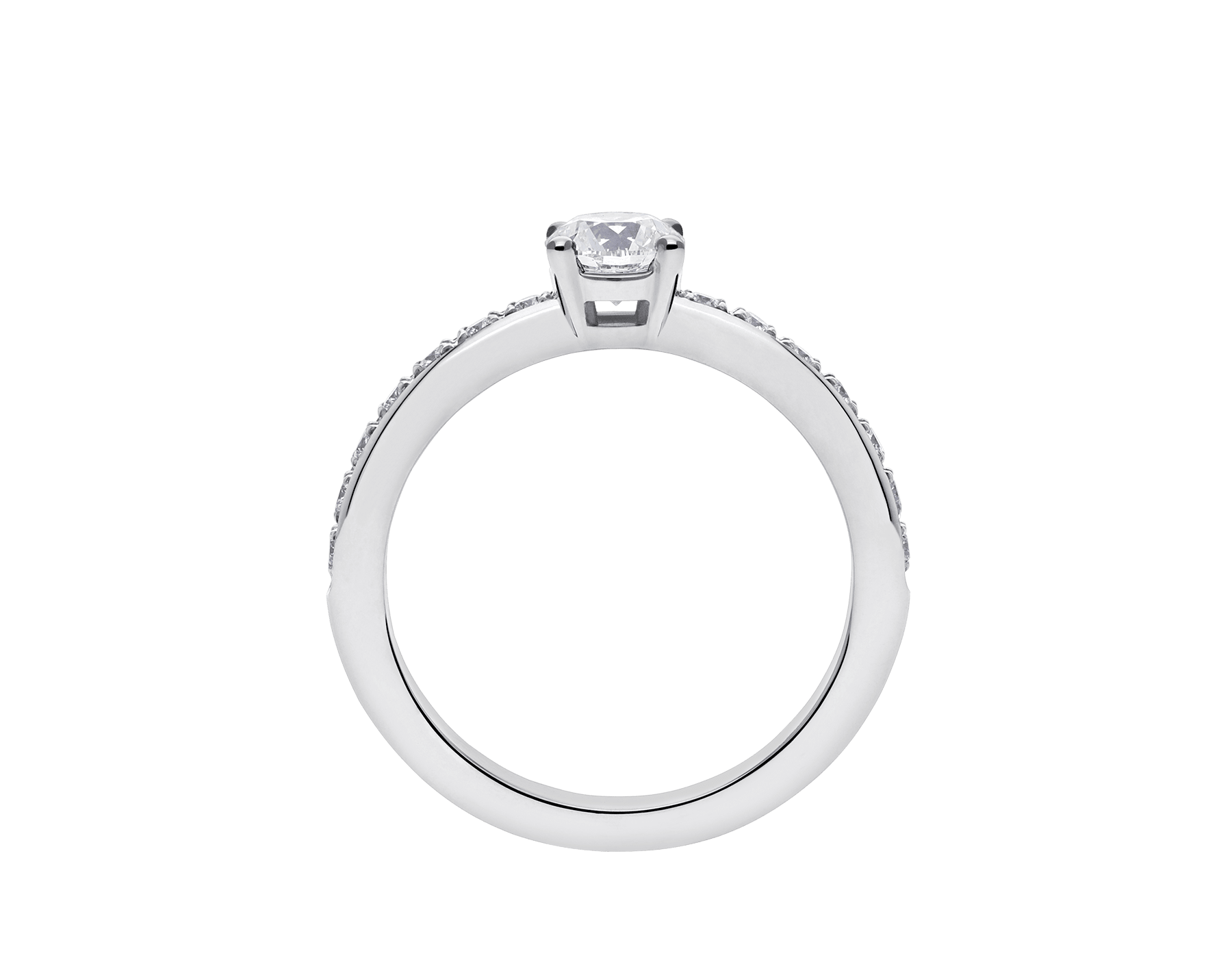 Griffe solitaire ring in platinum with a round brilliant cut diamond and pavé diamonds 340252 image 4
