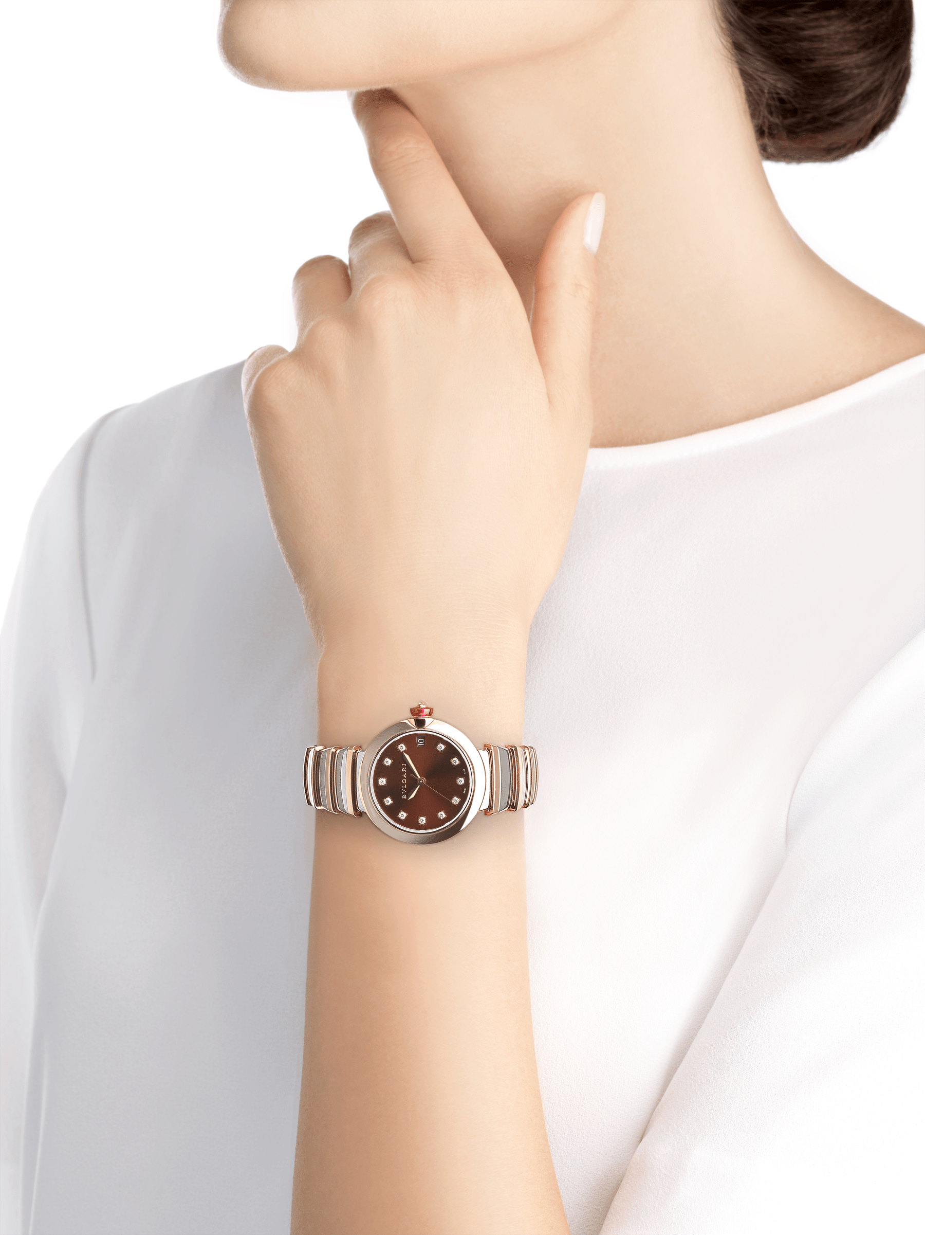 LVCEA watch in 18 kt rose gold and stainless steel case and bracelet, with brown dial and diamond indexes. 102689 image 4