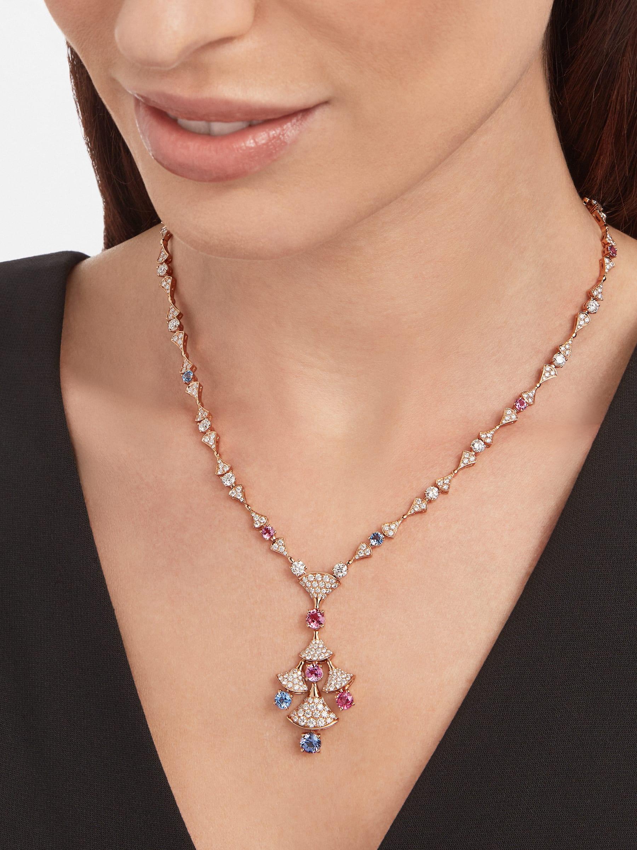 DIVAS' DREAM 18 kt rose gold necklace set with round brilliant-cut diamonds (3.06 ct), brilliant-cut spinels (4.04 ct) and pavé diamonds (3.63 ct) 357942 image 4