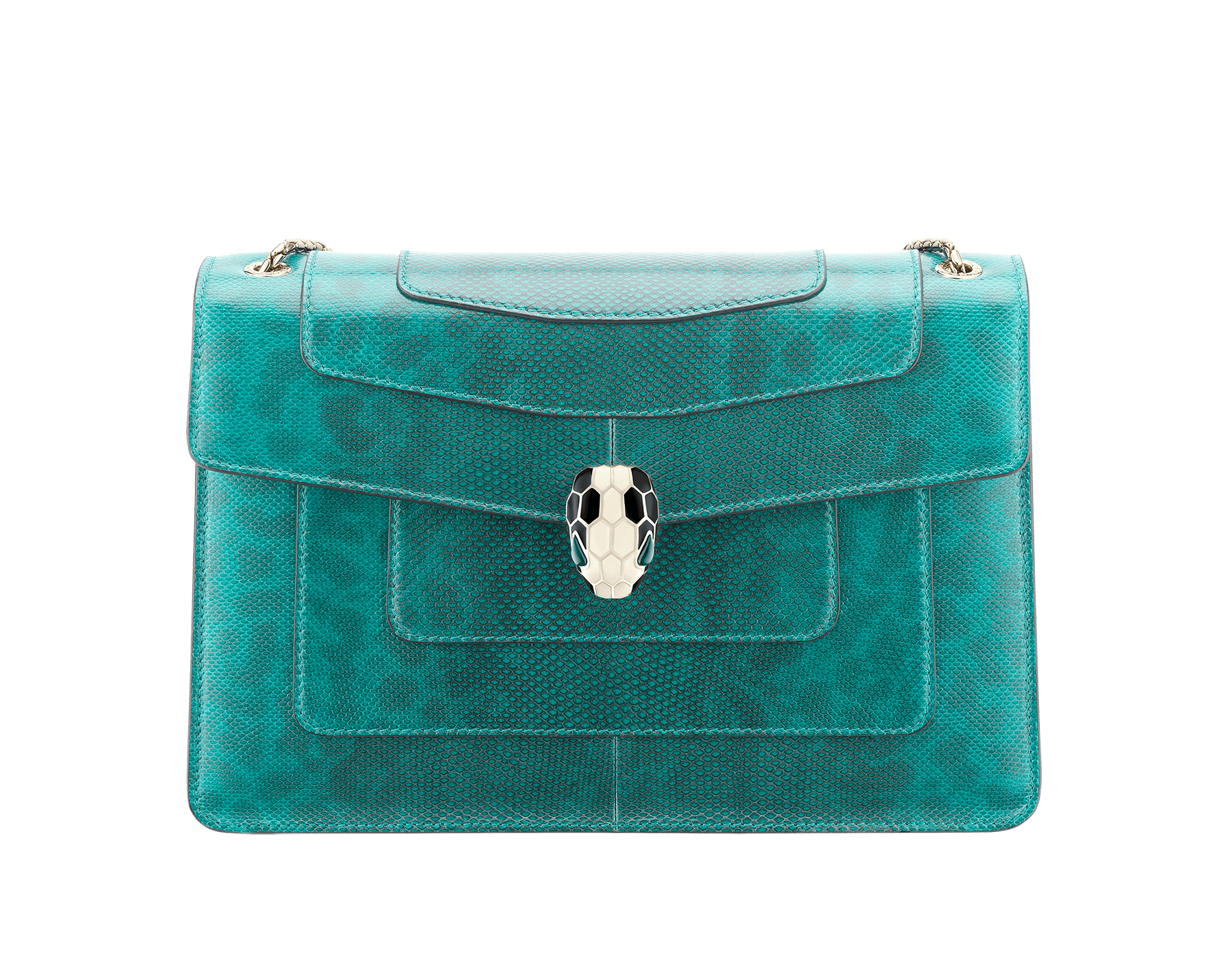 Serpenti Forever shoulder bag in tropical turquoise shiny karung skin. Snakehead closure in light gold plated brass decorated with black and white enamel, and green malachite eyes. 287917 image 1