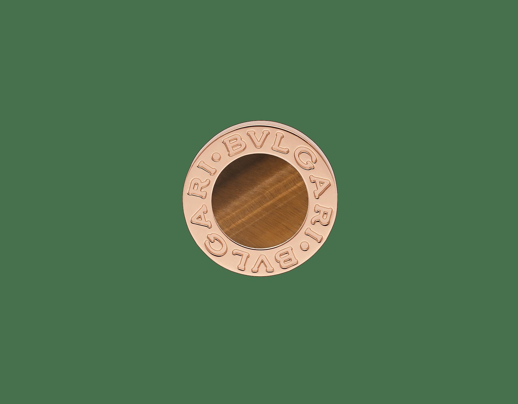 Boucle d'oreille unitaire BVLGARI BVLGARI en or rose 18K sertie d'un élément en œil-de-tigre 356364 image 1