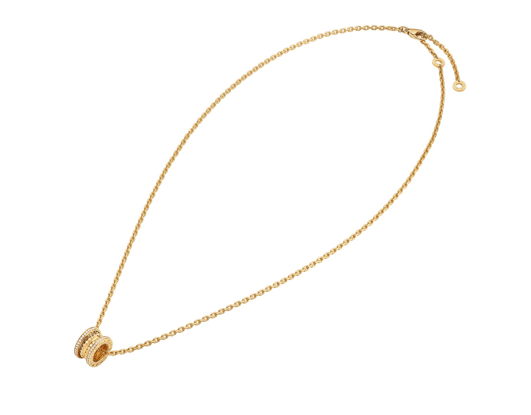 B.zero1 Rock pendant necklace in 18 kt yellow gold with studs set with pavé diamonds 358349 image 2