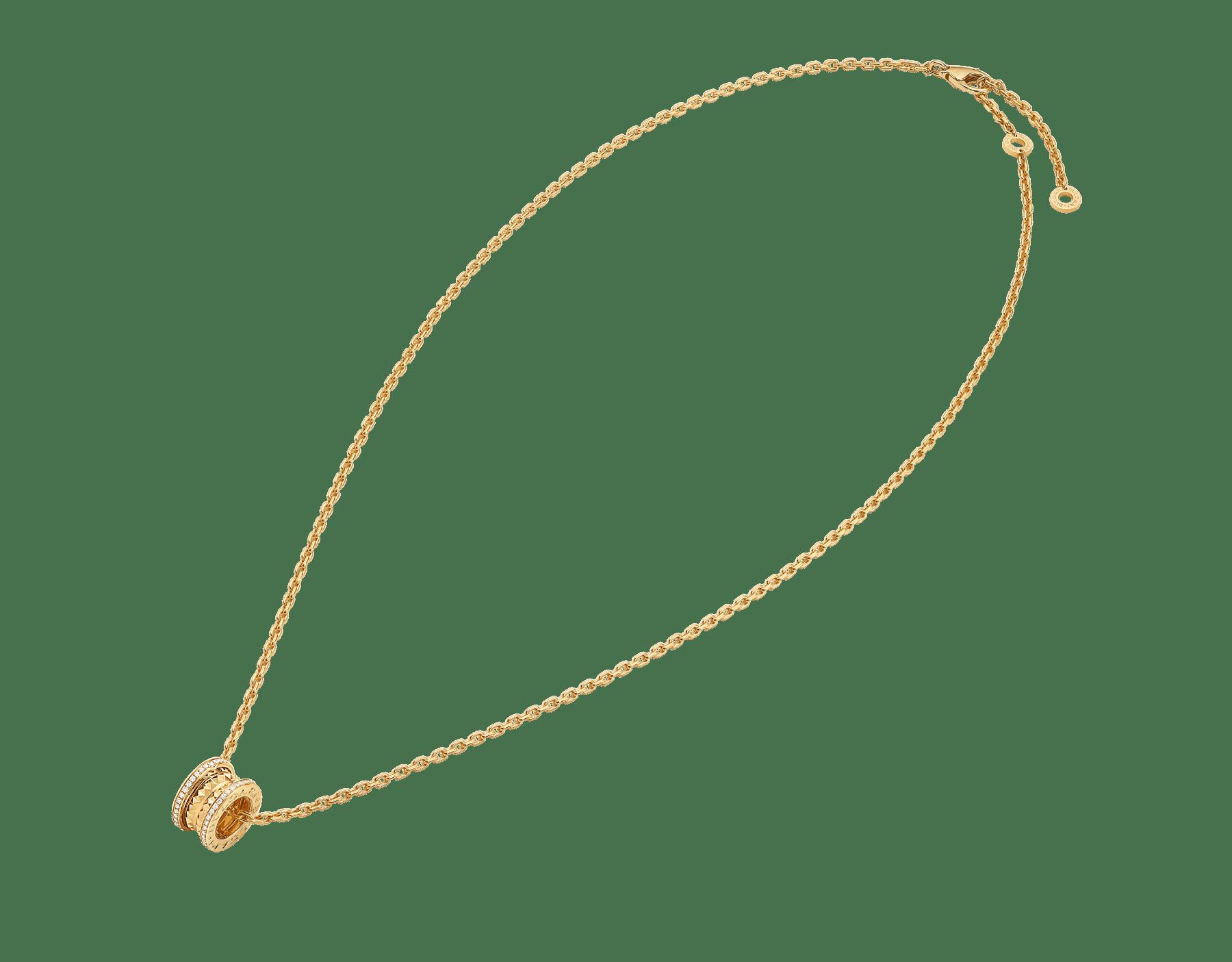 B.zero1 Rock 墜鍊,18K 黃金材質,飾以鉚釘,綴以密鑲鑽石。 358349 image 2