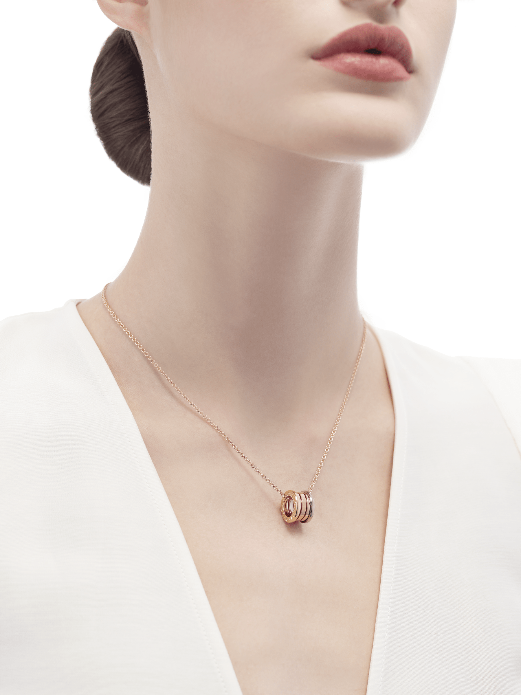 B.zero1 necklace in 18 kt rose gold with pendant in 18 kt rose, white and yellow gold. 352397 image 4