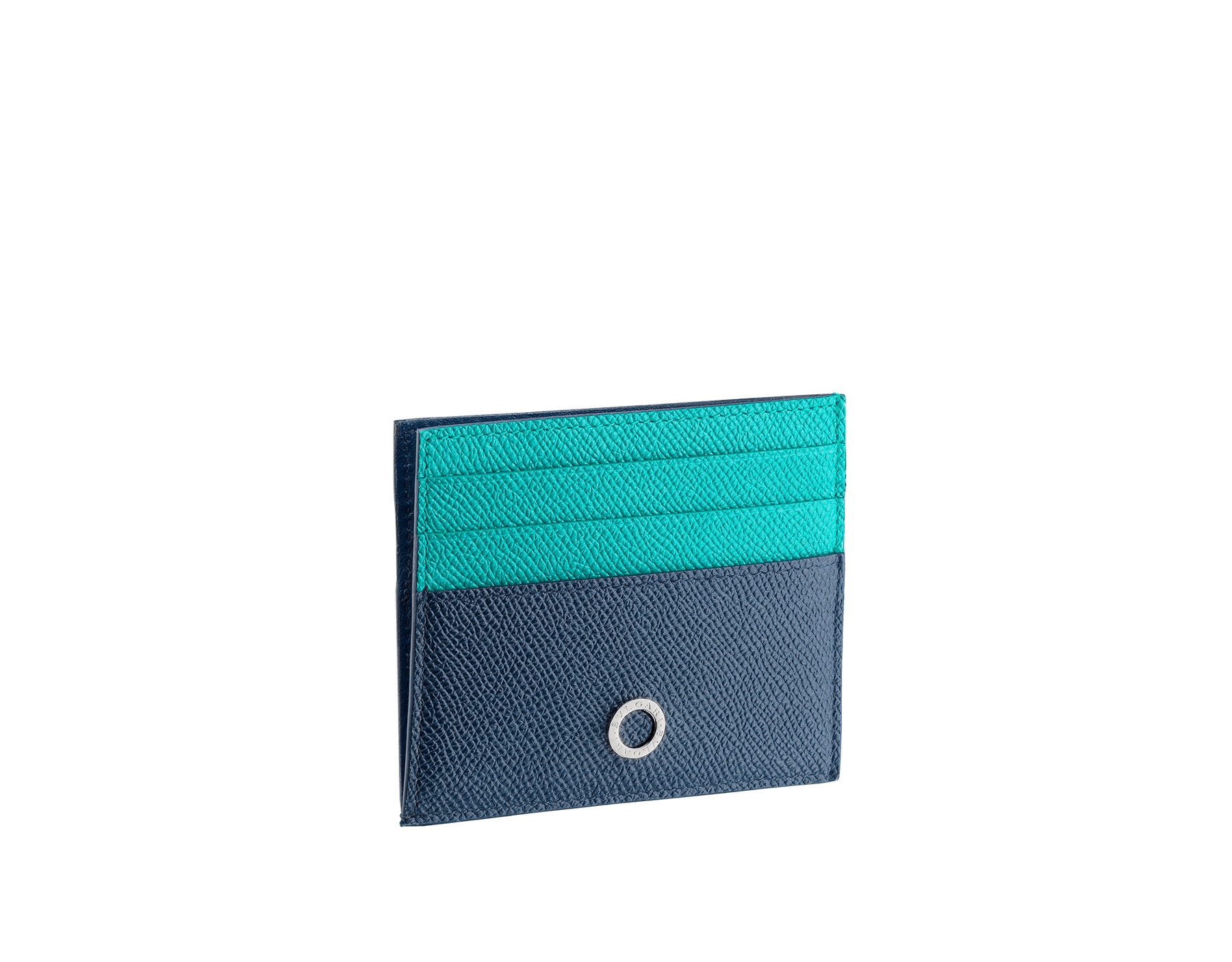 BVLGARI BVLGARI open credit card holder in denim sapphire and tropical tourquoise grain calf leather and black nappa lining. Iconic logo décor in palladium plated brass. 288311 image 1