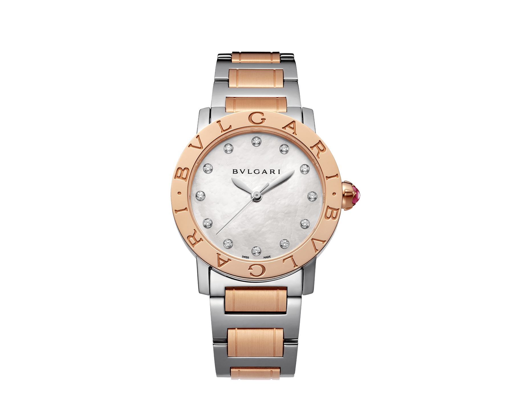 Orologio BVLGARI BVLGARI con cassa e bracciale in acciaio inossidabile e oro rosa 18 kt, quadrante bianco in madreperla e indici con diamanti. Misura media. 101891 image 1