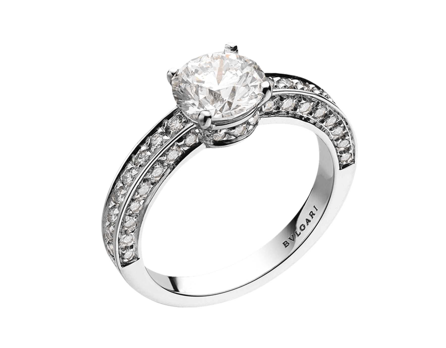 Dedicata a Venezia: 1503 solitaire ring in platinum with a round brilliant-cut diamond and pavé diamonds. Available from 0.30 ct. Named after the year in which the first engagement ring was offered in Venice. 344087 image 1