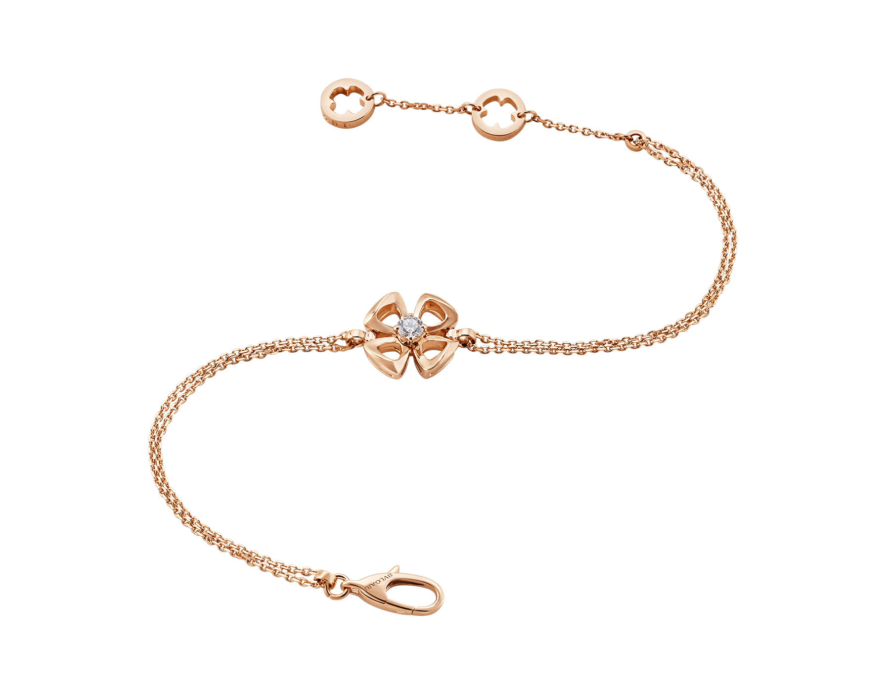 Fiorever 18 kt rose gold bracelet set with a central diamond (0.10 ct) BR858441 image 2