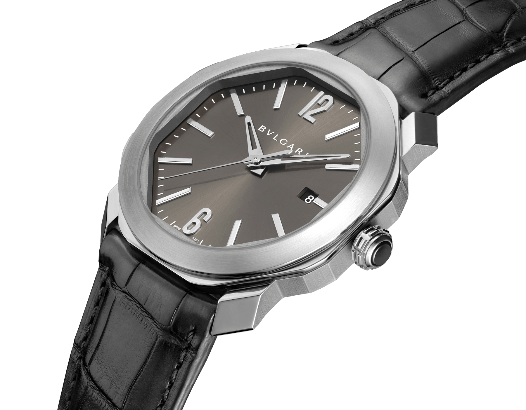 Octo Roma watch with mechanical manufacture movement, automatic winding, stainless steel case, anthracite dial and black alligator bracelet. 102855 image 2