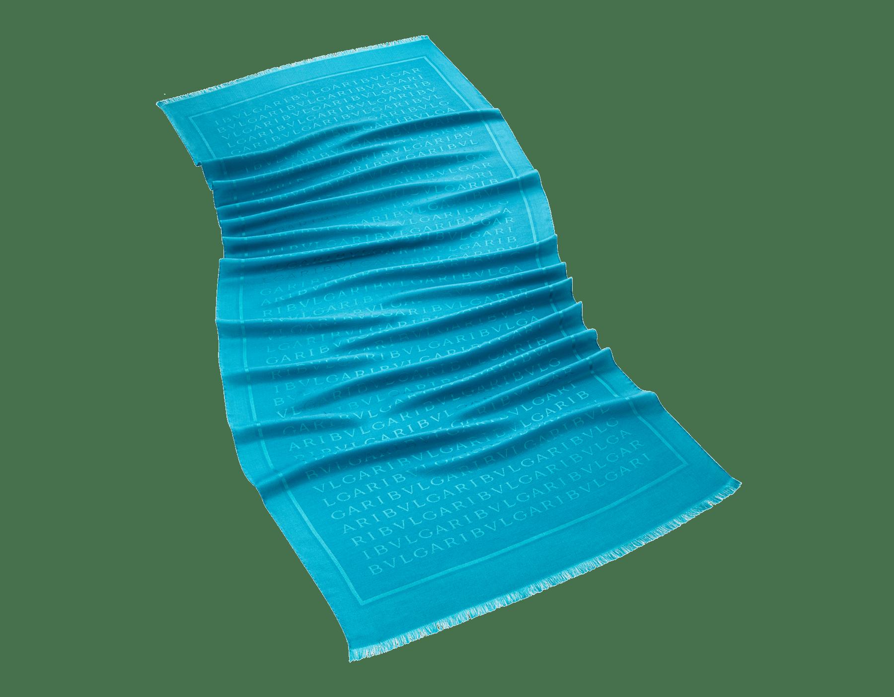 Étole Lettere Maxi en laine et soie fine couleur Capri Turquoise. 244483 image 1