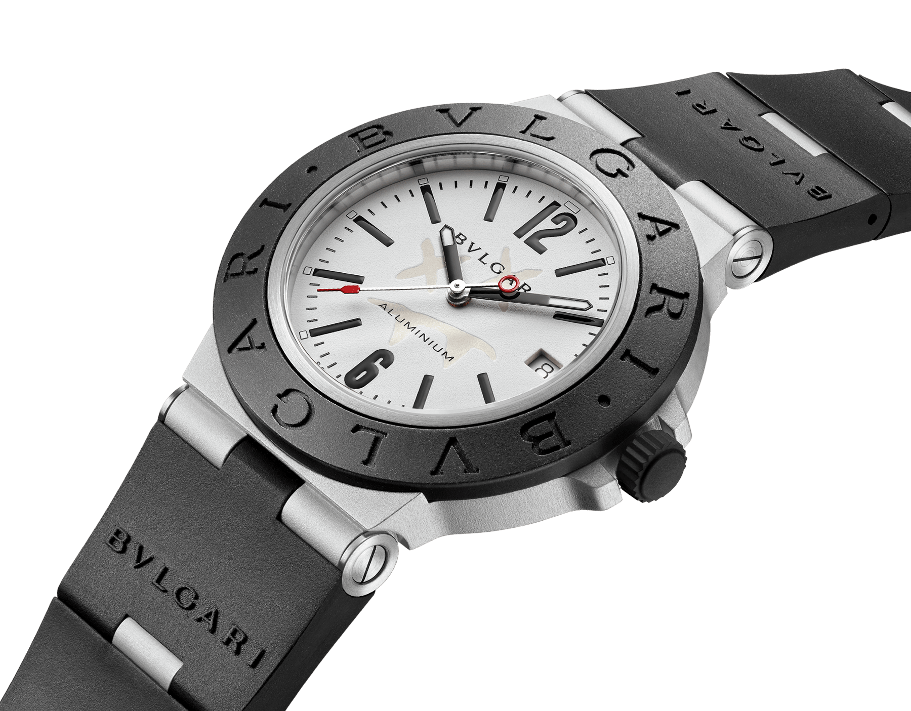 Bvlgari Aluminium Steve Aoki Limited Edition watch with mechanical movement with automatic winding, 40 mm aluminum and titanium case, black rubber bezel with BVLGARI BVLGARI engraving, white SNL dial with special Steve Aoki logo and black rubber bracelet. Water-resistant up to 100 meters. 103539 image 3