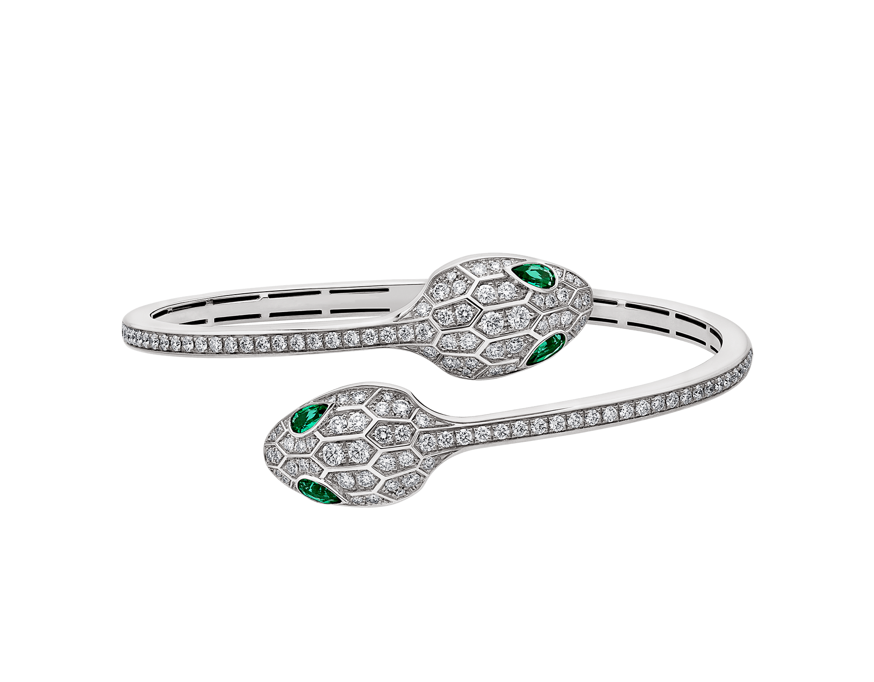 Serpenti 18 kt white gold bracelet set with emerald eyes and pavé diamonds. BR858551 image 2