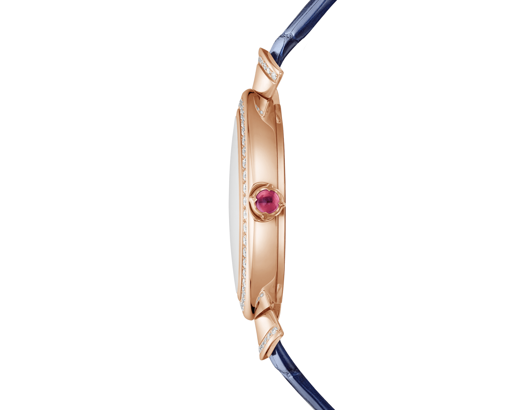 DIVAS' DREAM watch with 18 kt rose gold case, 18 kt rose gold bezel and fan-shaped links both set with round brilliant-cut diamonds, lapis lazuli dial, diamond indexes and blue alligator bracelet 103261 image 2