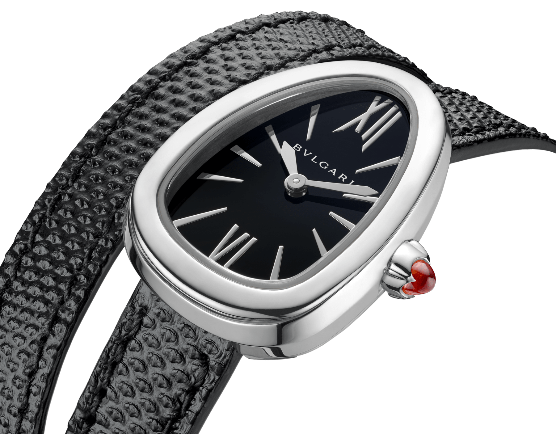 Serpenti watch with stainless steel case, black lacquered dial and interchangeable double spiral bracelet in black karung leather. 102782 image 3
