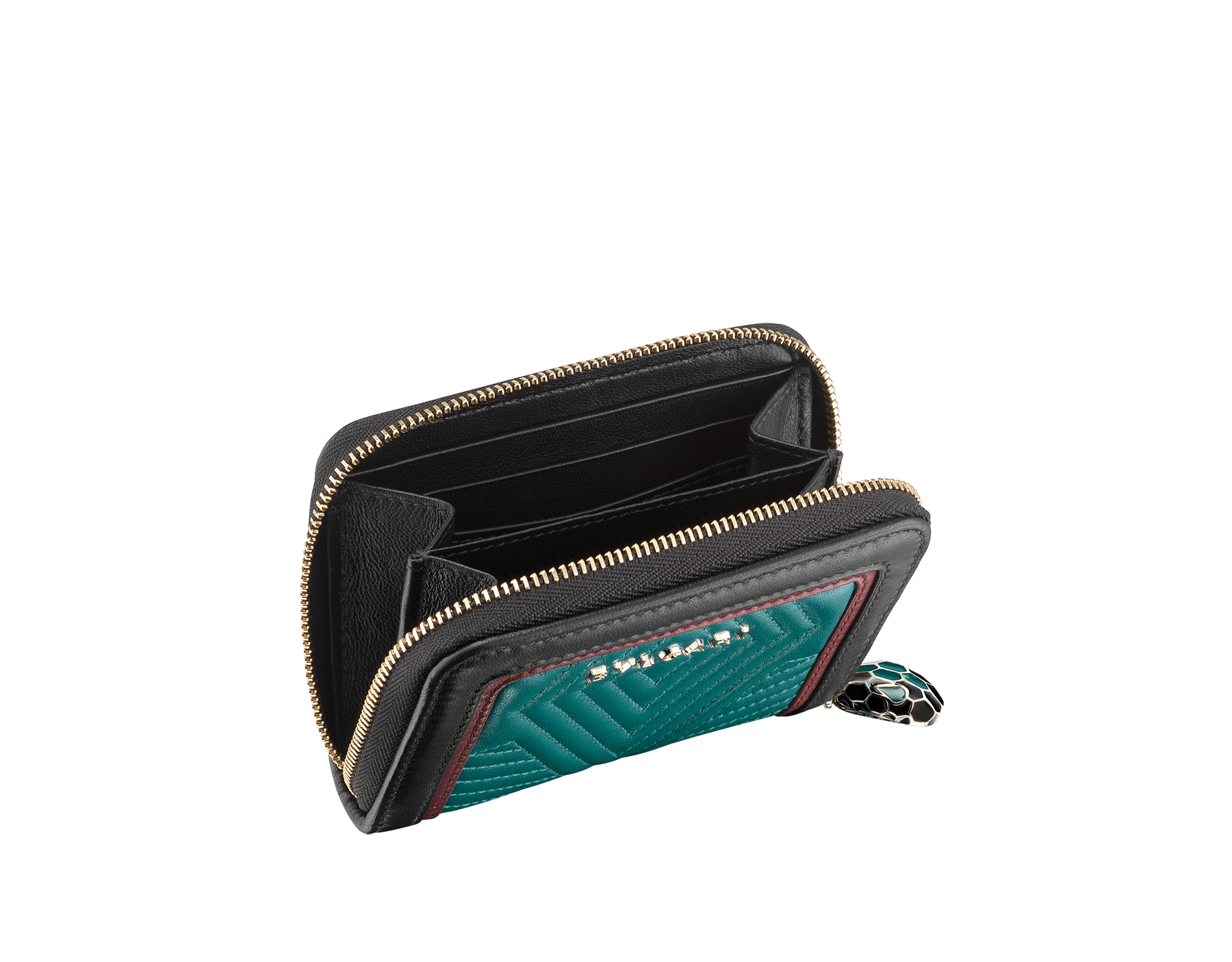 Serpenti Diamond Blast mini zipped wallet in deep jade quilted nappa leather. Iconic snakehead zip puller in black and deep jade enamel, with black enamel eyes. 288149 image 2