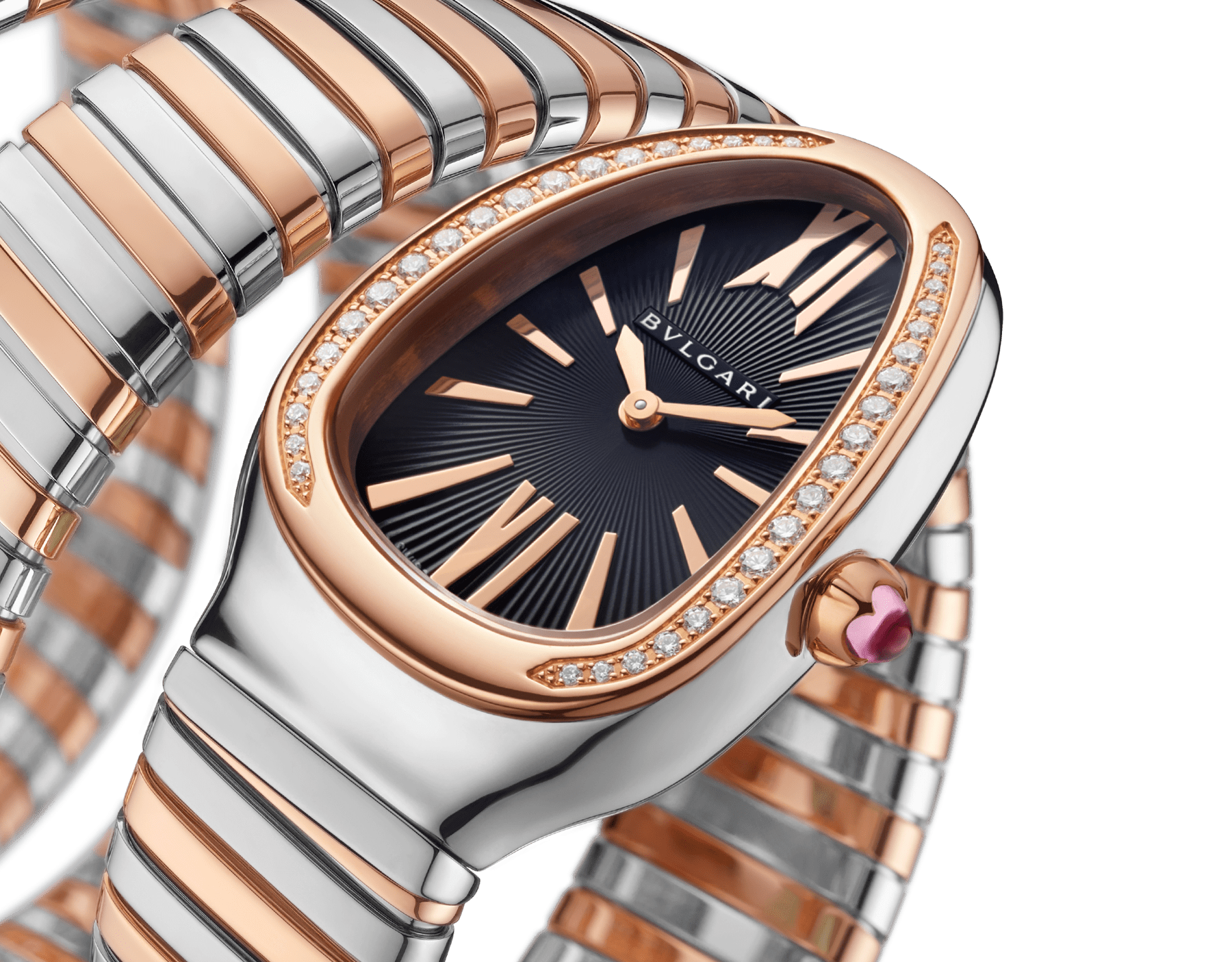 Serpenti Tubogas five-spiral watch with stainless steel case, 18 kt rose gold bezel set with brilliant cut diamonds, black lacquered dial, 18 kt rose gold and stainless steel bracelet. 102621 image 2