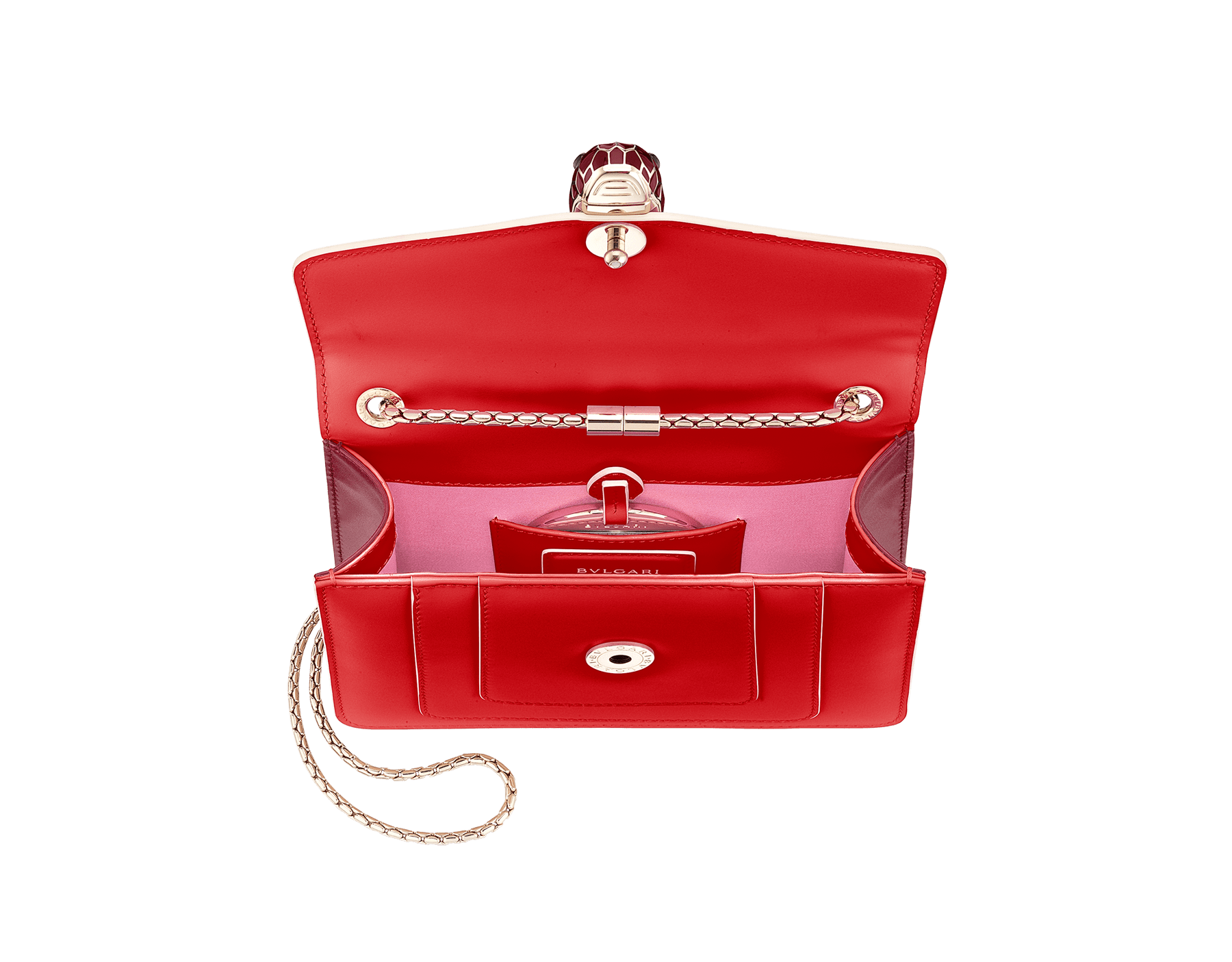 """Serpenti Forever"" crossbody bag in white agate calf leather body and ruby red calf leather sides. Iconic snakehead closure in light gold plated brass enriched with ruby red and white agate enamel and black onyx eyes. 422-BCLa image 4"