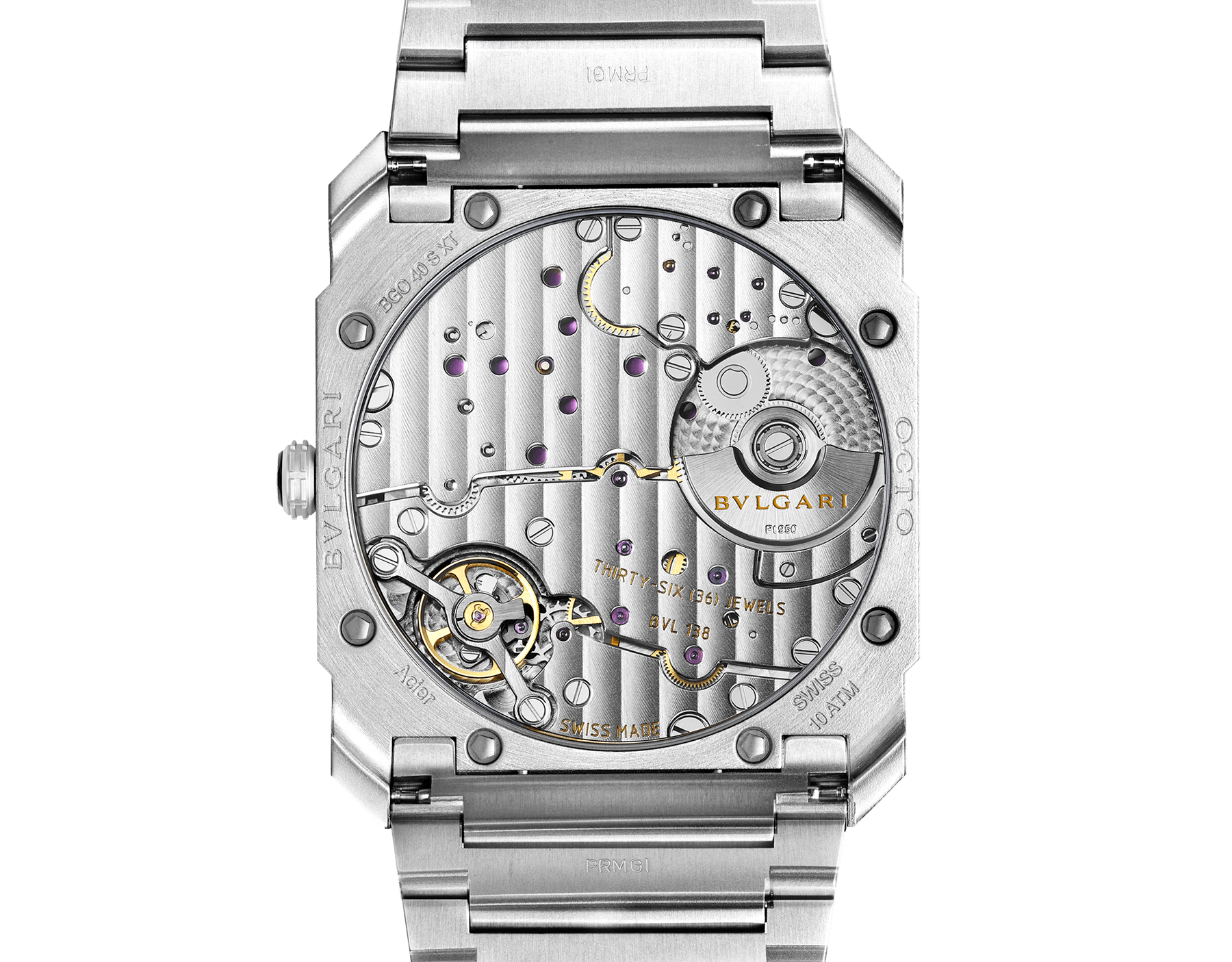 Octo Finissimo Automatic watch with mechanical manufacture movement, automatic winding, platinum microrotor, small seconds, extra-thin satin-polished stainless steel case and bracelet, transparent case back and black matte dial. Water-resistant up to 100 metres 103297 image 4