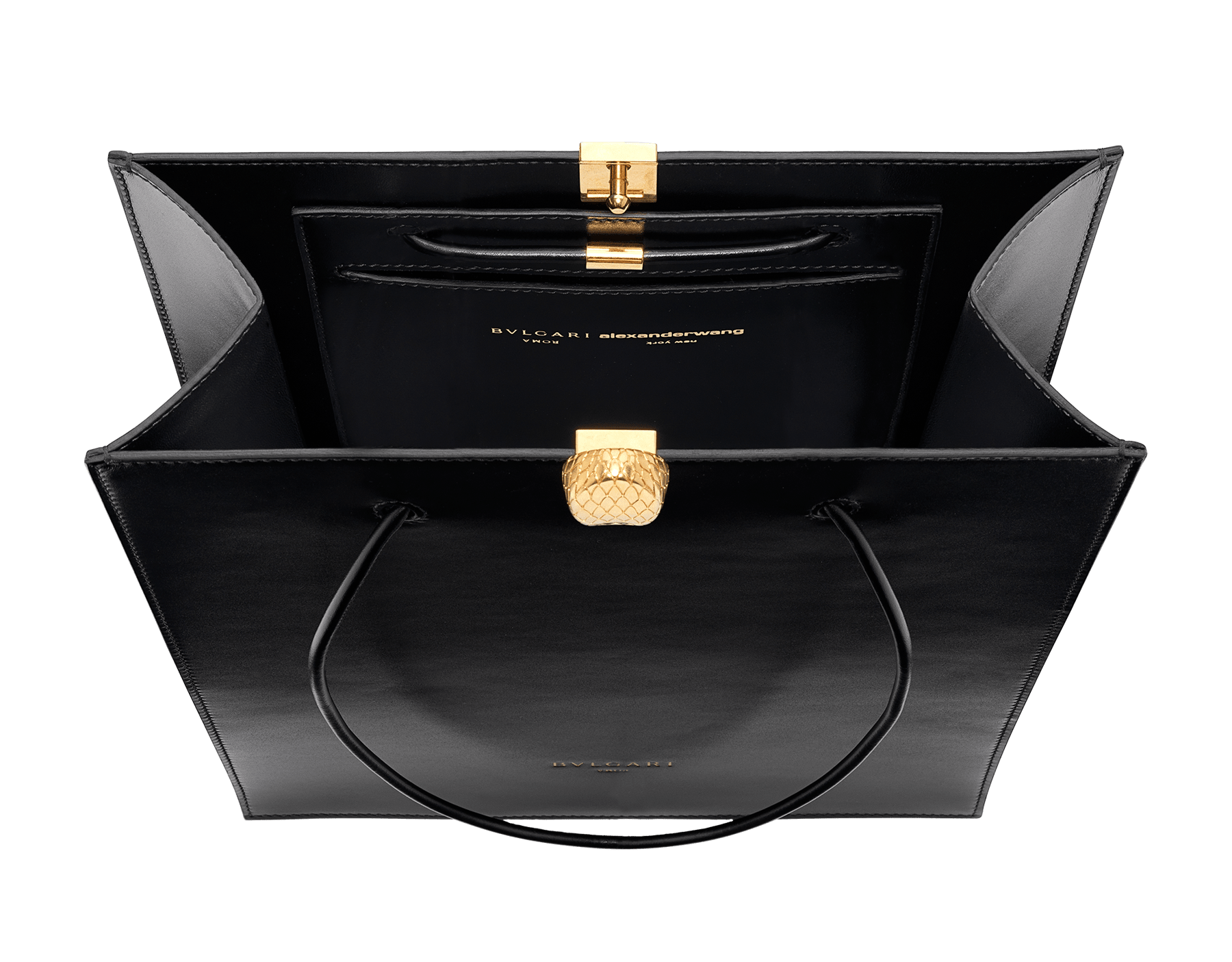 Alexander Wang x Bvlgari shopping tote bag in smooth black calf leather. New Serpenti head closure in antique gold plated brass with tempting red enamel eyes. Limited edition. 288733 image 4