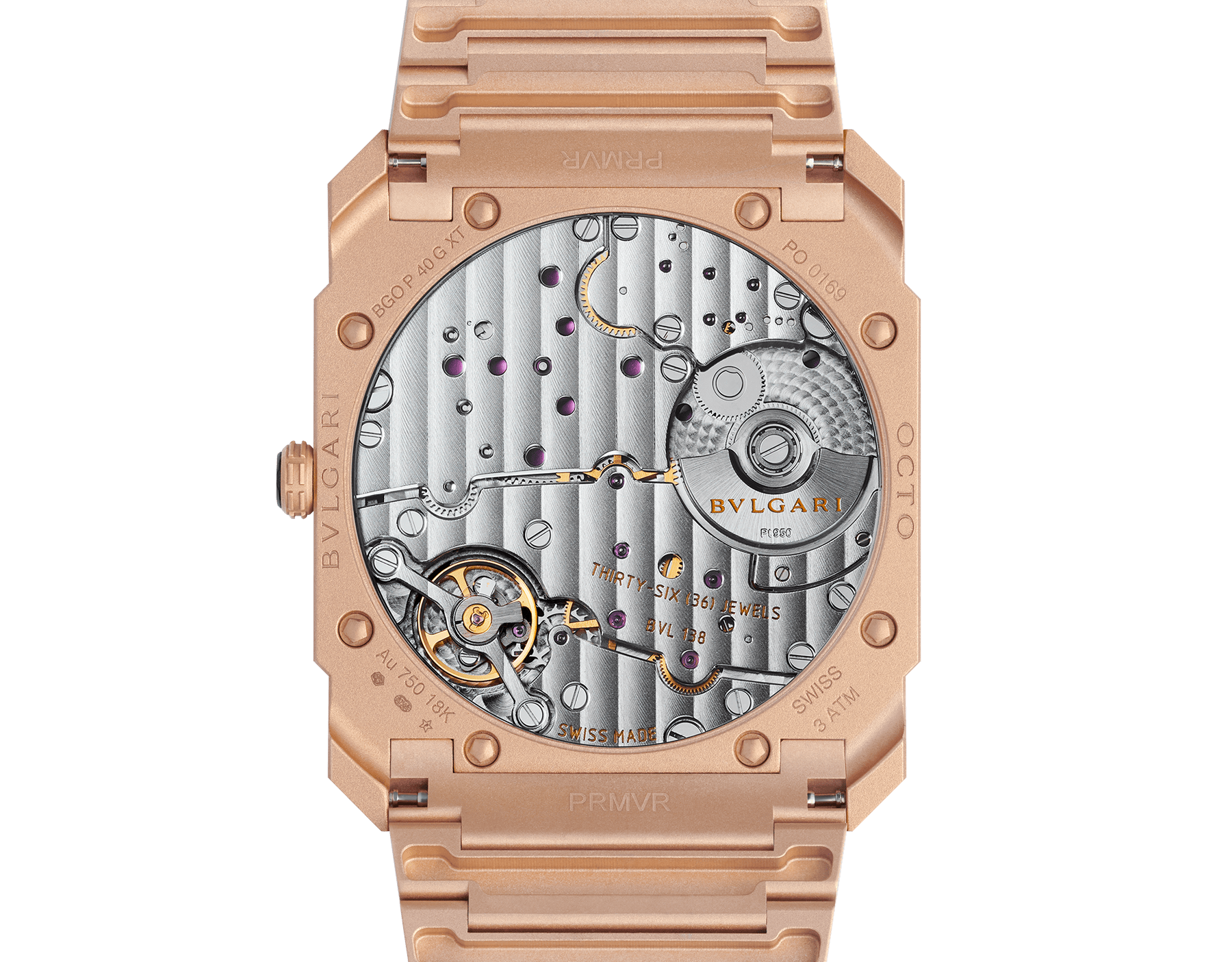 Octo Finissimo Automatic watch with mechanical manufacture movement, automatic winding, platinum microrotor, small seconds, extra-thin sandblasted 18 kt rose gold case and bracelet, and 18 kt rose gold dial 102912 image 4