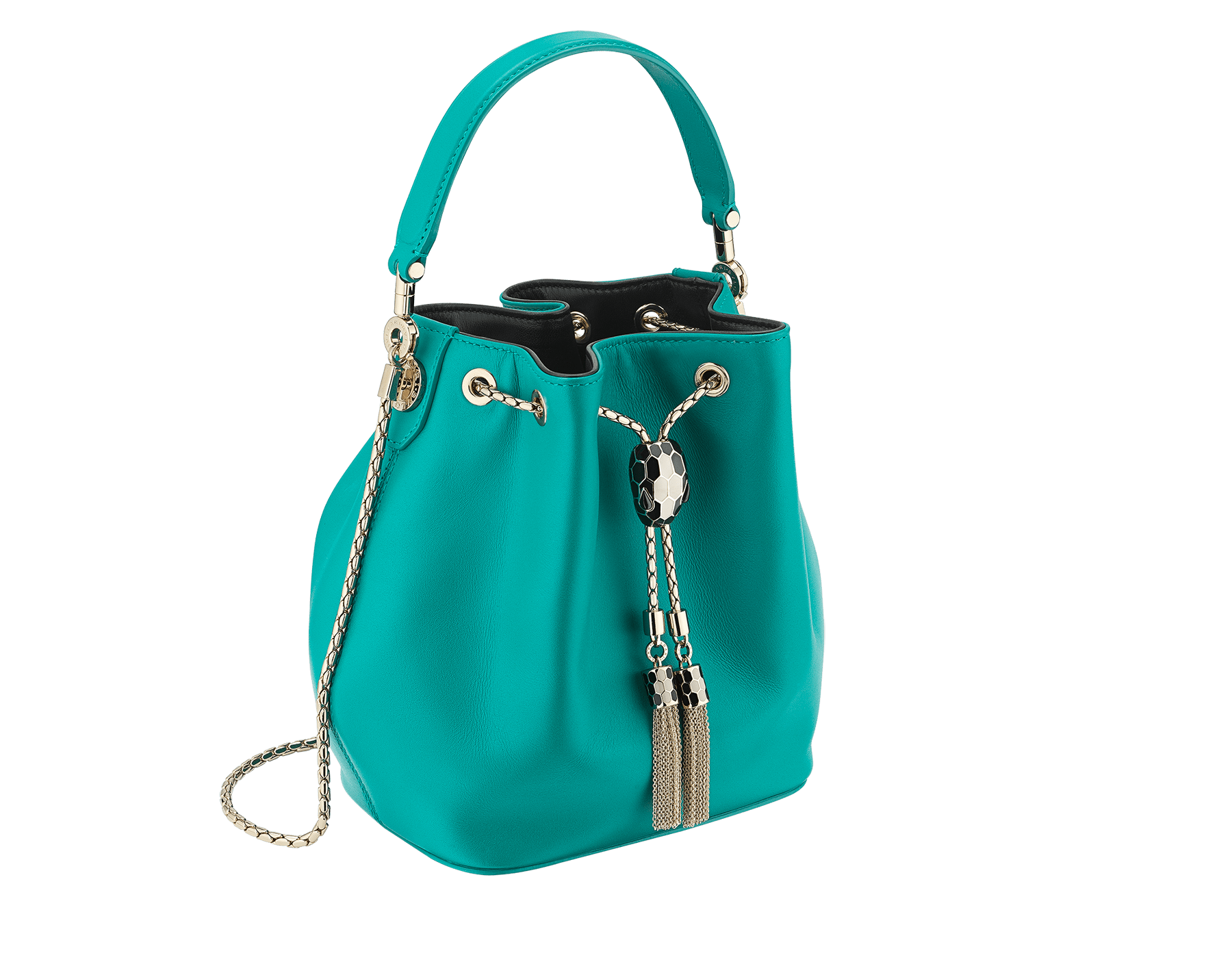 Serpenti Forever bucket bag in tropical turquoise smooth calf leather and black nappa inner lining. Snakehead closure in light gold plated brass decorated with black and white enamel, and black onyx eyes. 287981 image 2