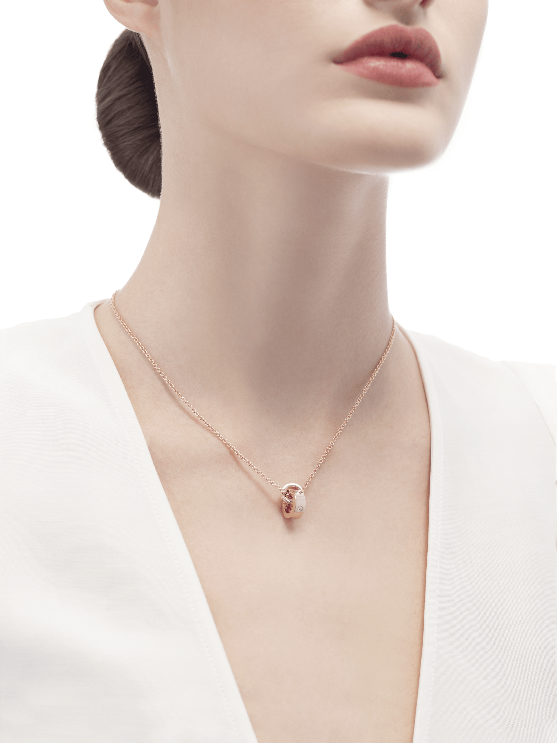 BVLGARI BVLGARI necklace with 18 kt rose gold chain and 18 kt rose gold pendant set with five diamonds. 354028 image 4