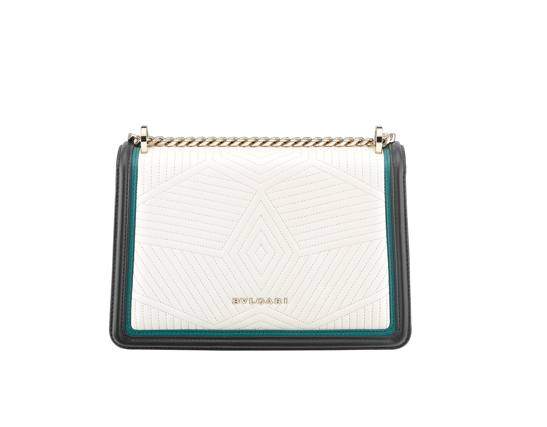 Serpenti Diamond Blast shoulder bag in white agate quilted nappa leather body and deep jade and black calf leather frames. Snakehead closure in light gold plated brass decorated with deep jade and black enamel, and black onyx eyes. 287970 image 3