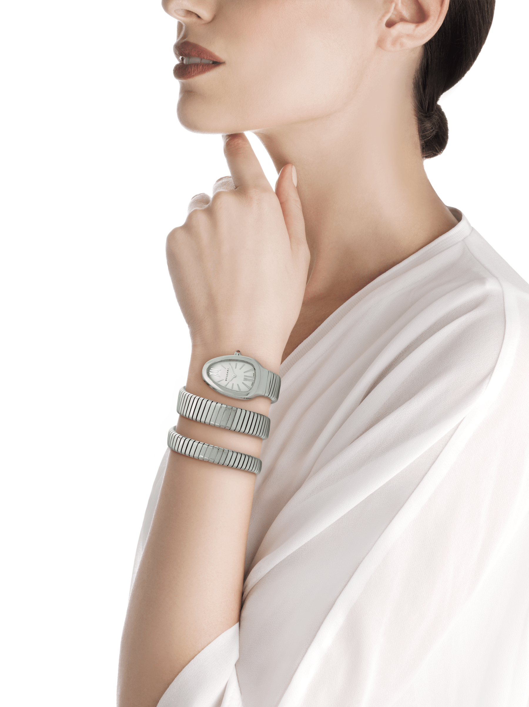 Serpenti Tubogas double spiral watch in stainless steel case and bracelet, with silver opaline dial. 101911 image 4