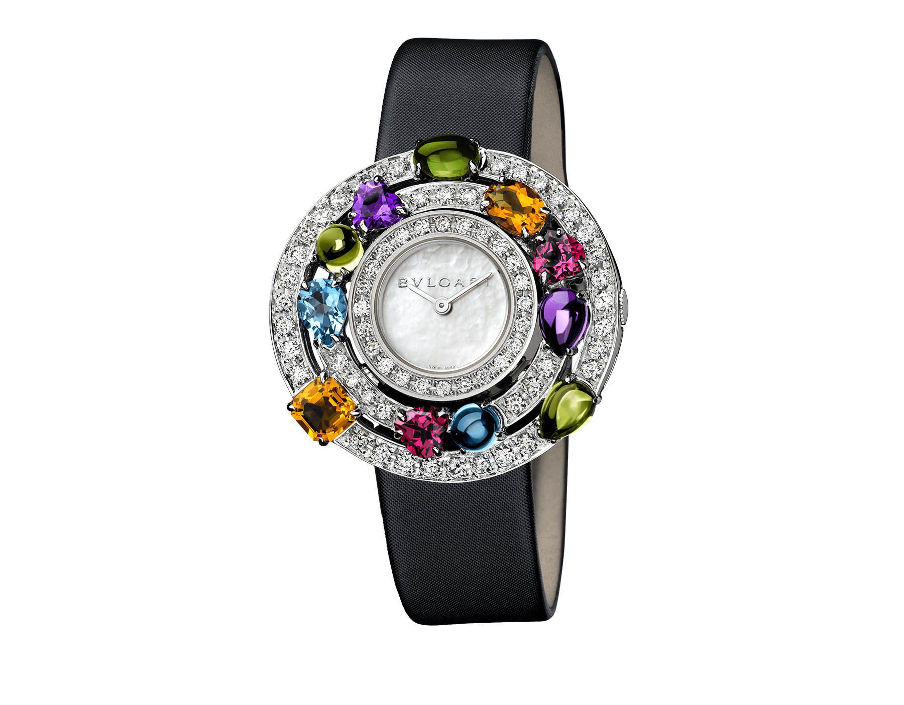 Astrale watch with 18 kt white gold case set with brilliant-cut diamonds and fancy-cut coloured gemstones, white mother-of-pearl dial and black satin bracelet 102010 image 1
