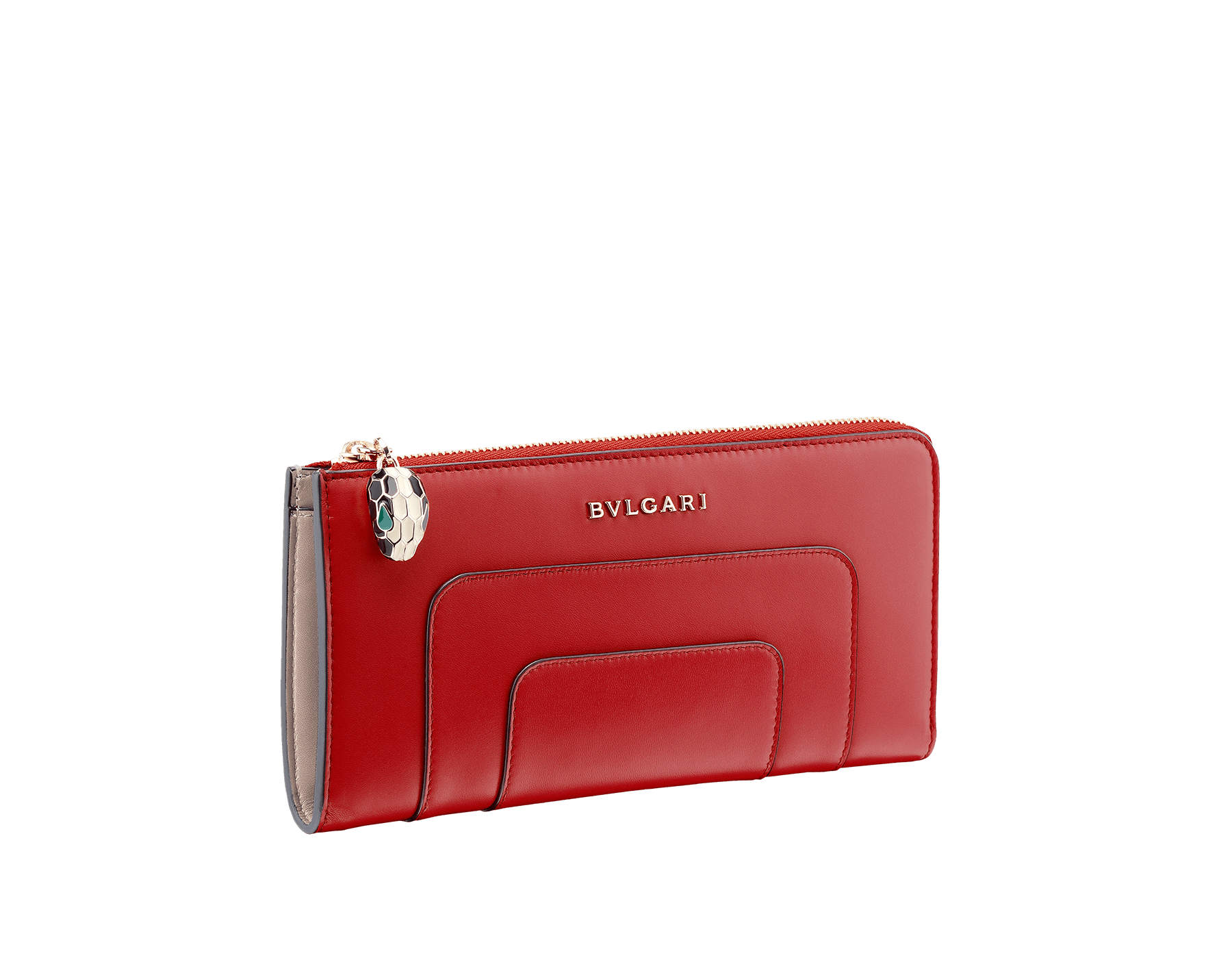 L-shaped zipped wallet in ruby red and desert quartz calf leather with brass light gold plated hardware. Iconic black and white enamel Serpenti head zip puller with malachite enamel eyes. 281289 image 1