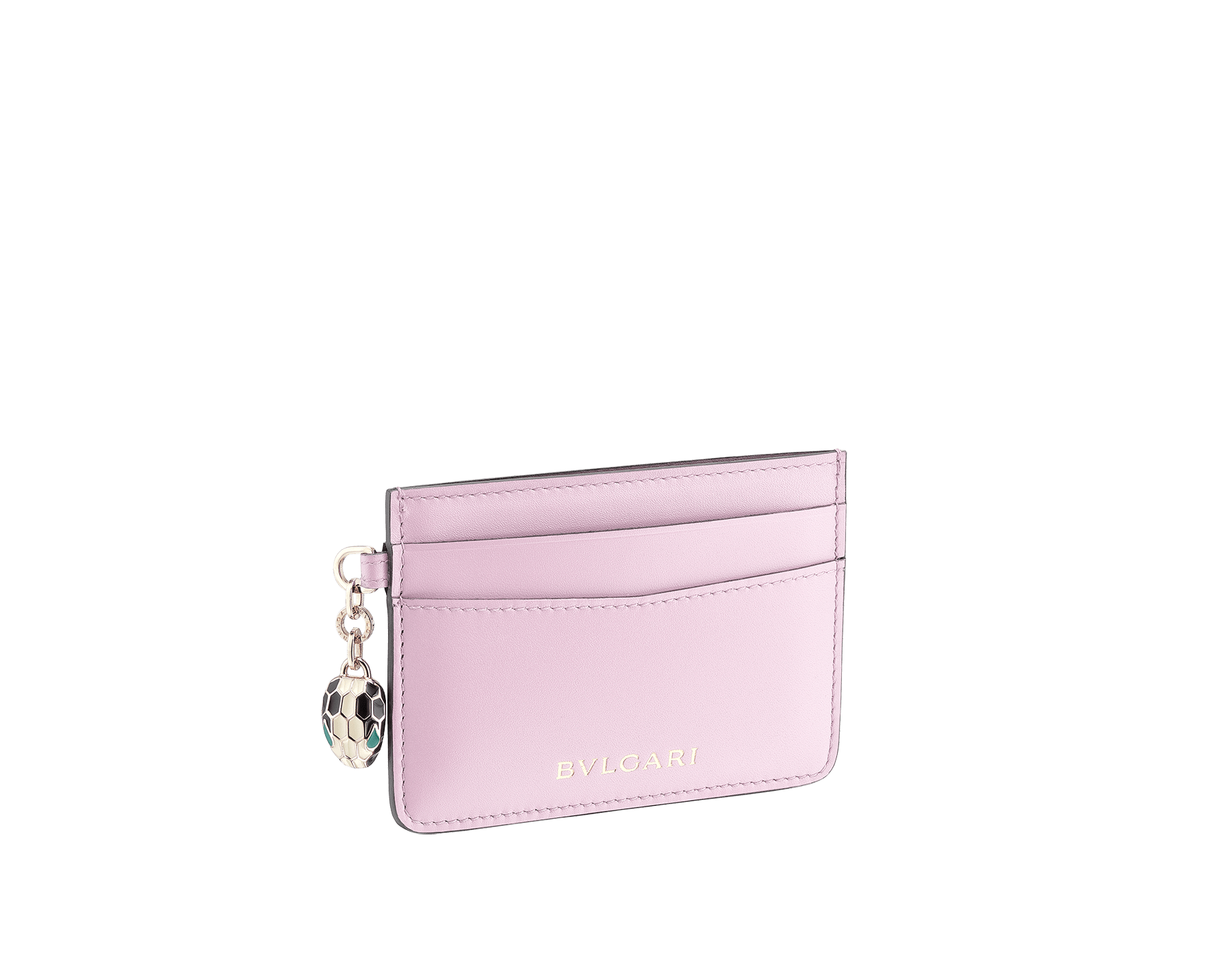 Serpenti Forever credit card holder in sea star coral and pink spinel calf leather. Iconic snakehead charm in black and white enamel, with green malachite enamel eyes. SEA-CC-HOLDER-CLb image 1