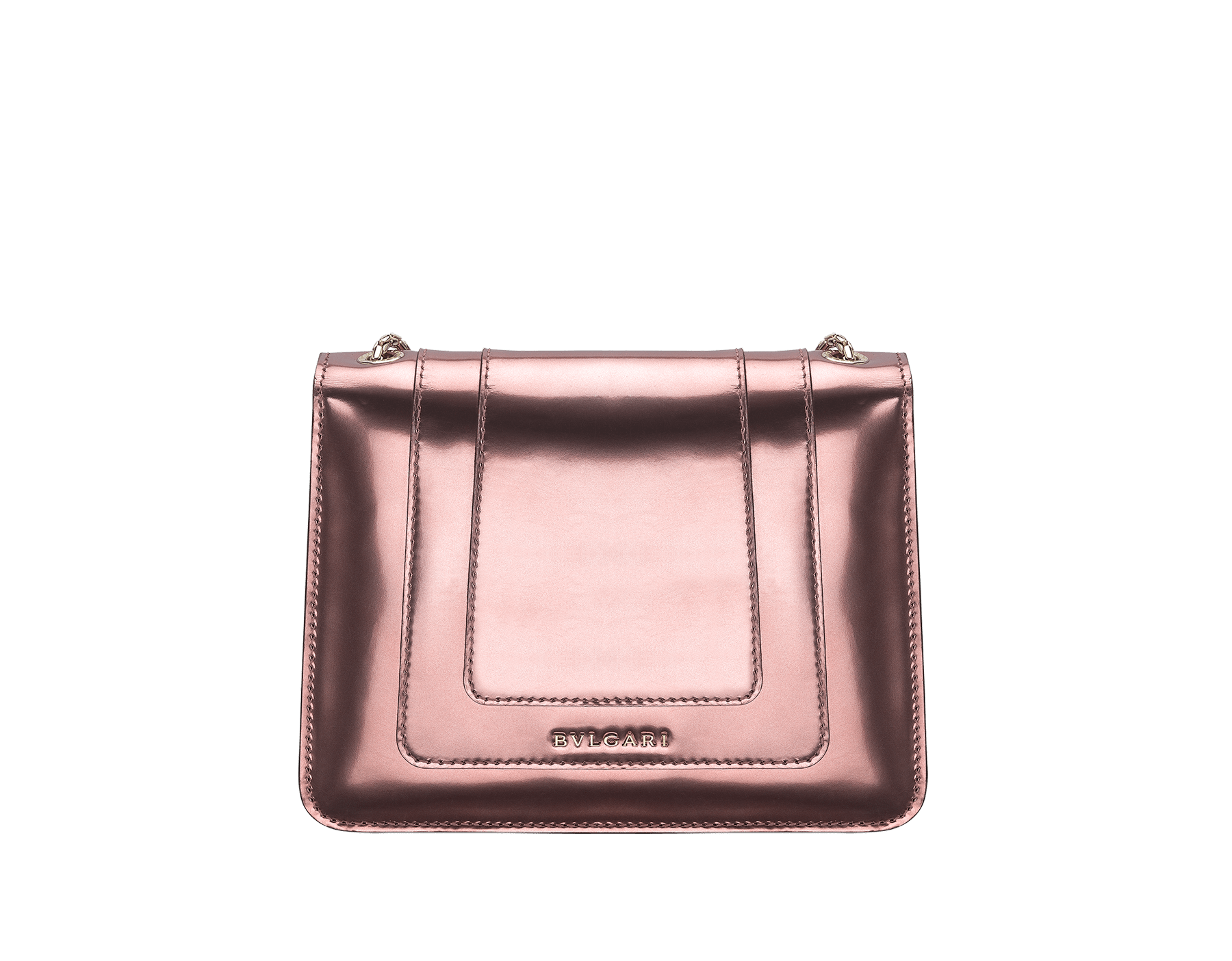 Flap cover bag Serpenti Forever in rose quartz brushed metallic calf leather. Brass light gold plated tempting snake head closure in black and white enamel, with eyes in green malachite. 422-BMCLb image 3